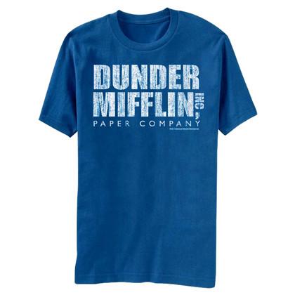 The Office Dunder Mifflin Distressed Logo Men's Blue T-Shirt
