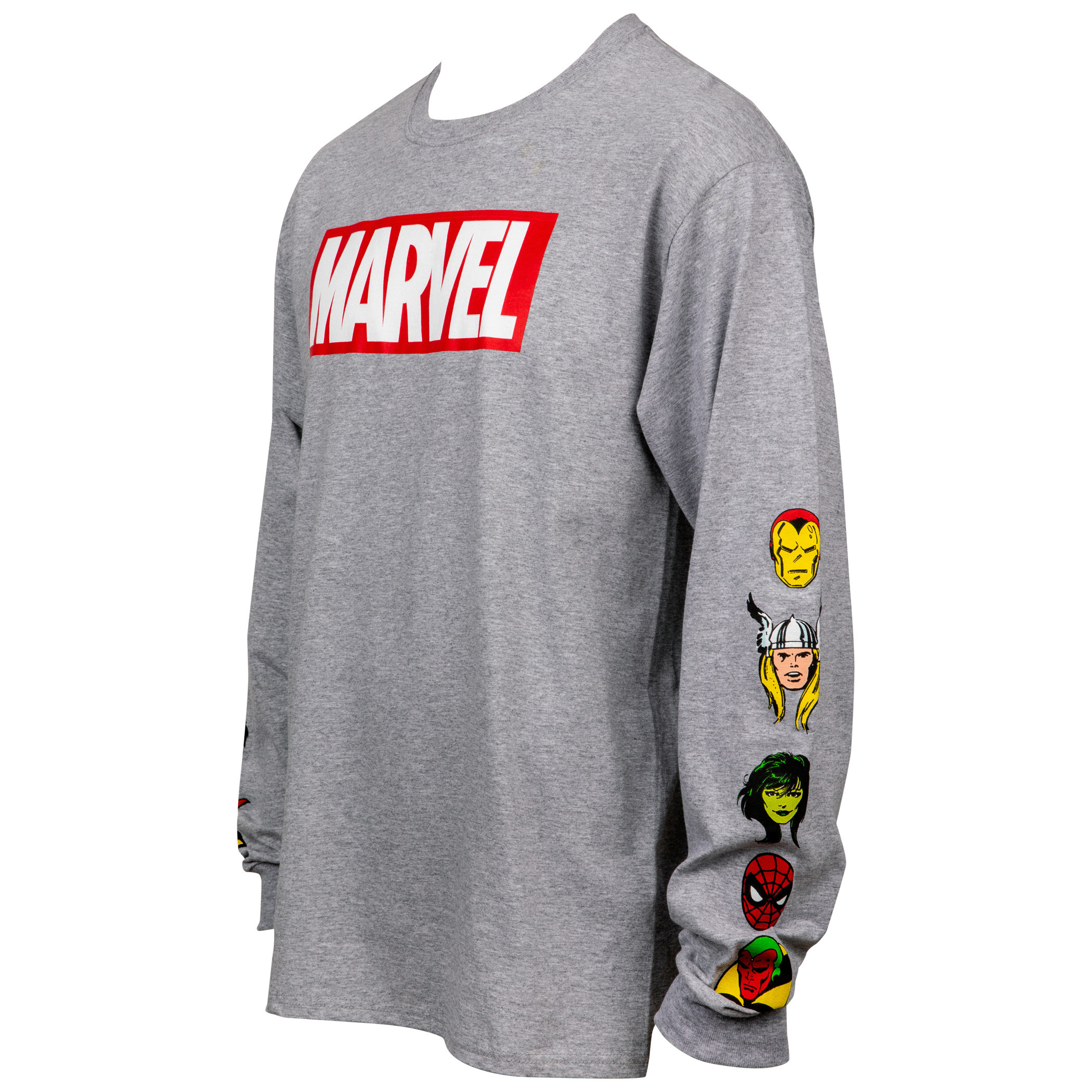 Marvel Text Logo with Character Heads Sleeve Print Long Sleeve Shirt