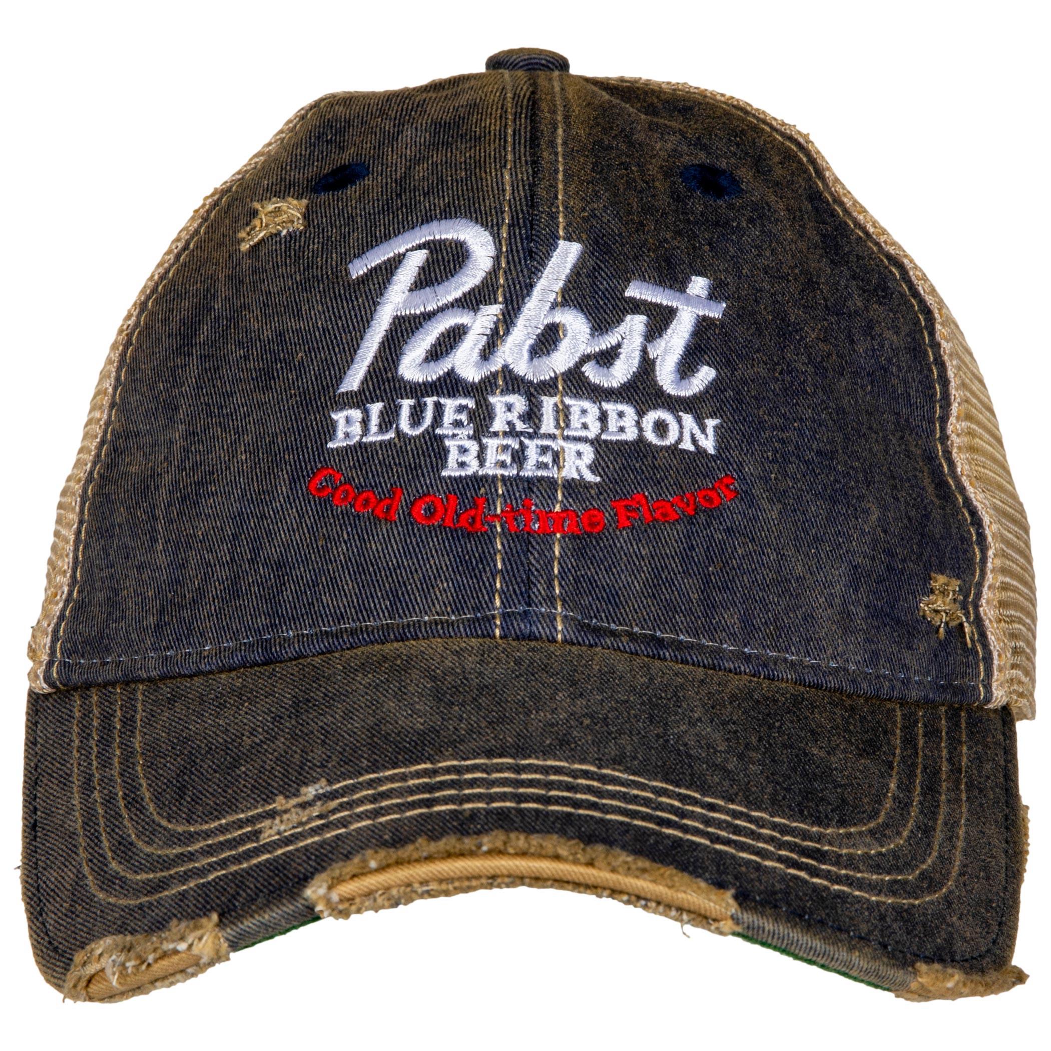Pabst Blue Ribbon Beer Good Old Flavor Vintage Trucker Hat