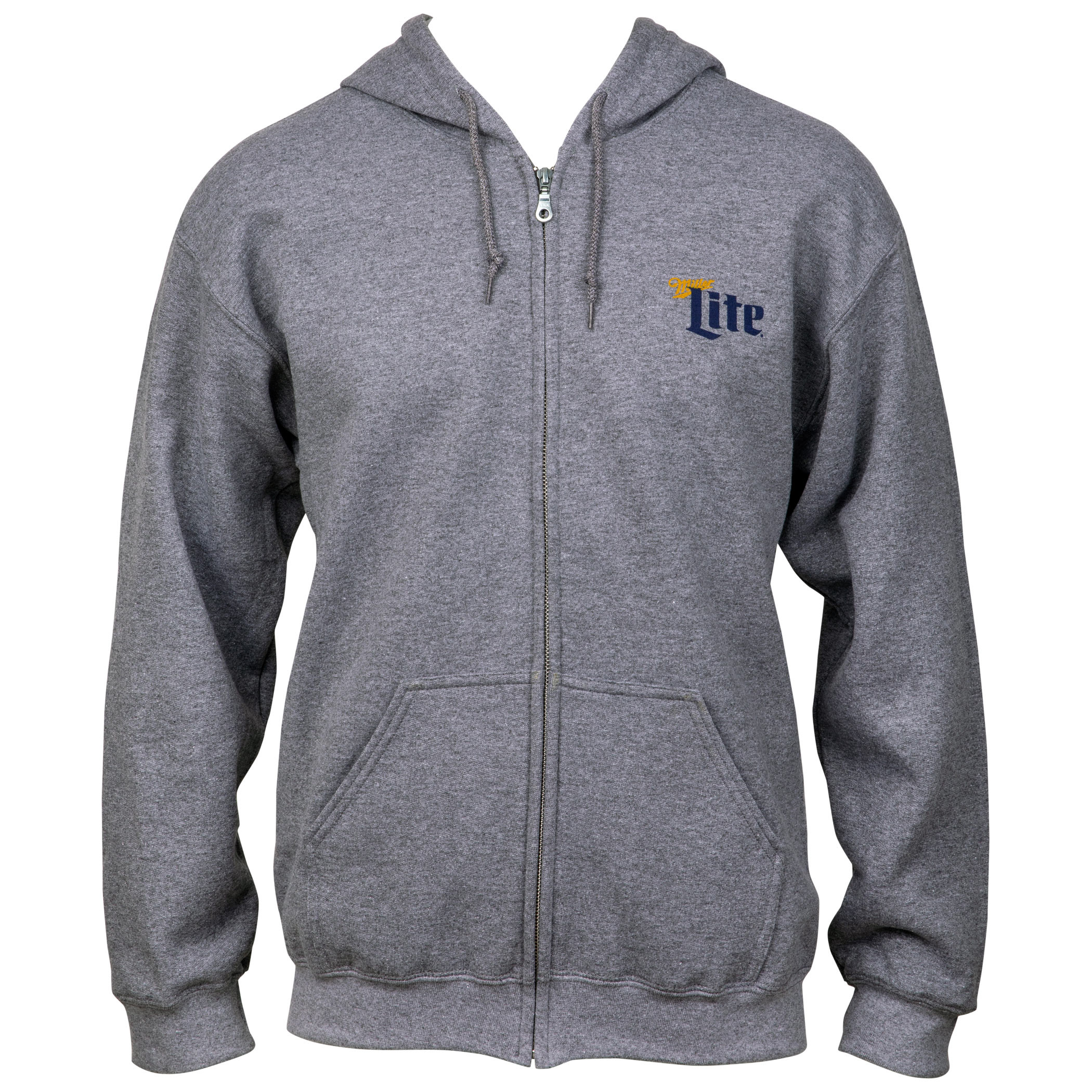 Miller Lite Front and Back Print Zip Up Hoodie