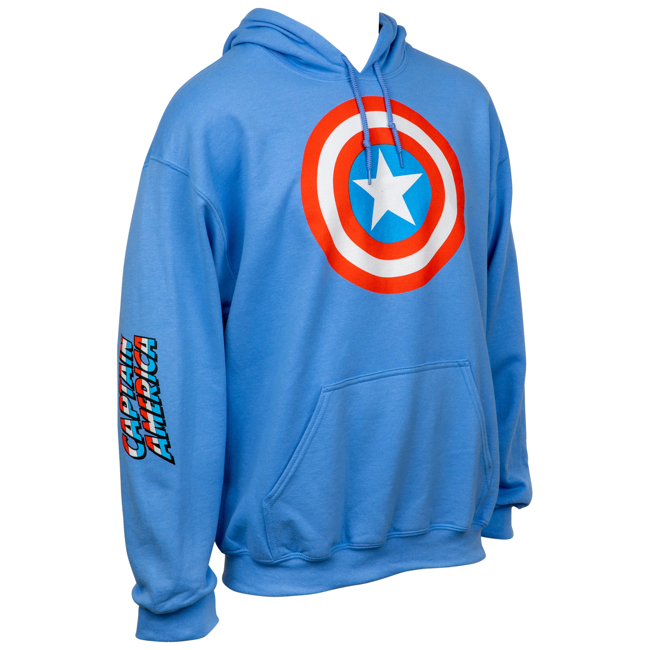 Captain America Shield Symbol with Sleeve Print Text Pull Over Hoodie