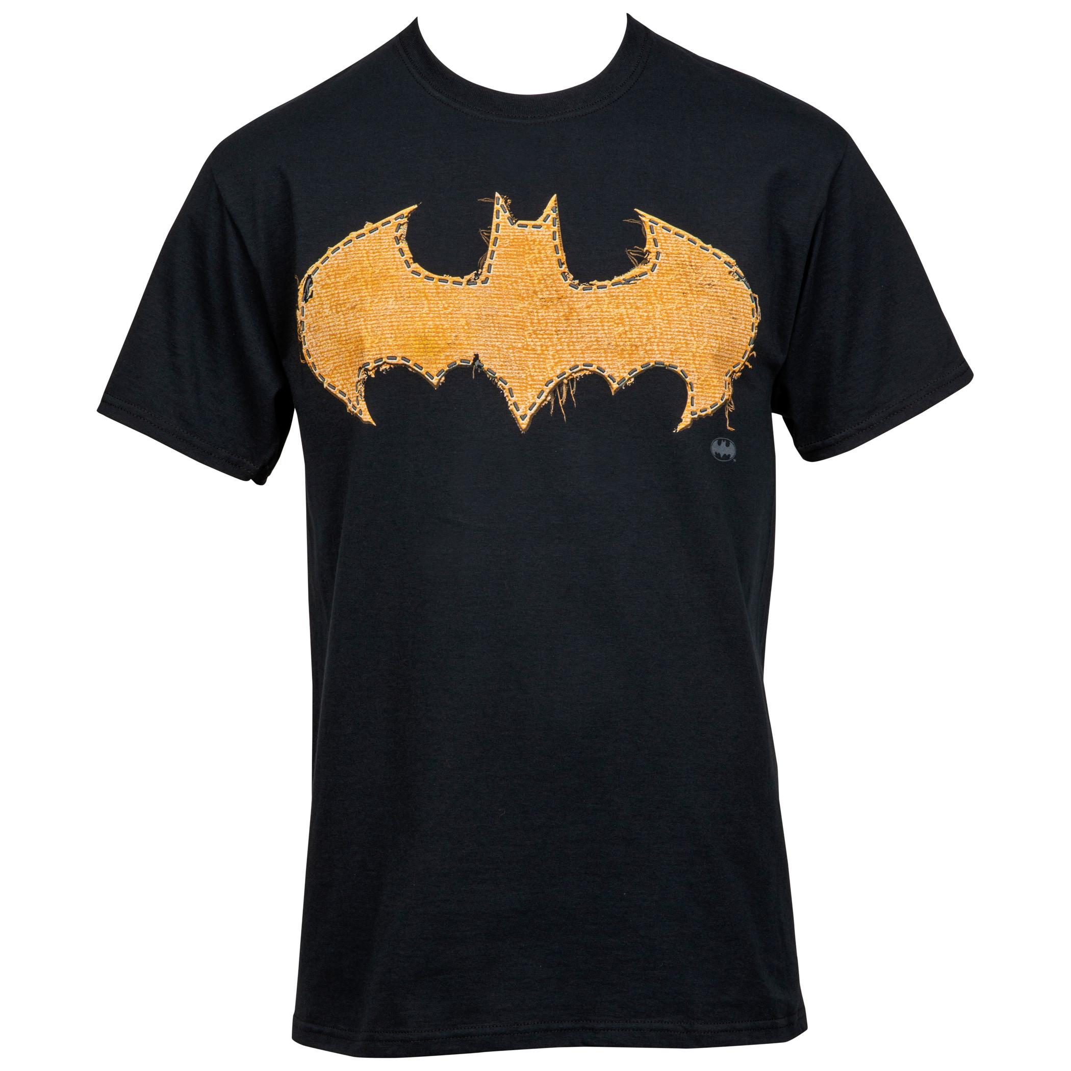 Batman Frayed Yellow Stitch Logo T-Shirt