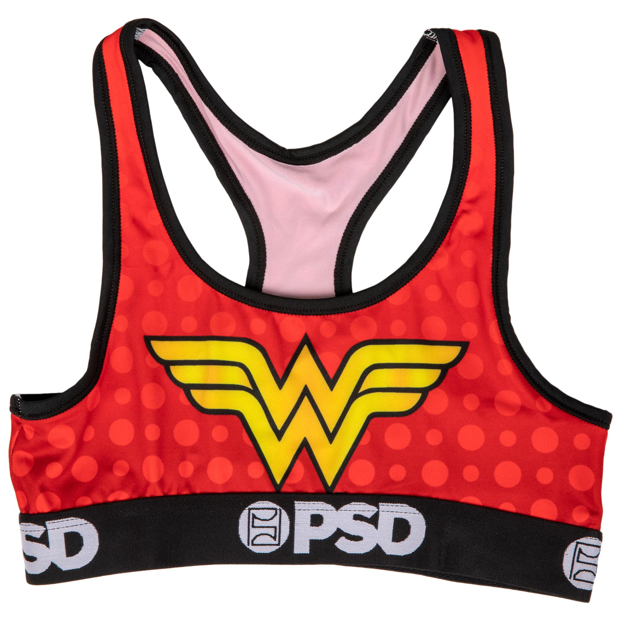 DC Wonder Woman Symbol Microfiber Blend Sports Bra