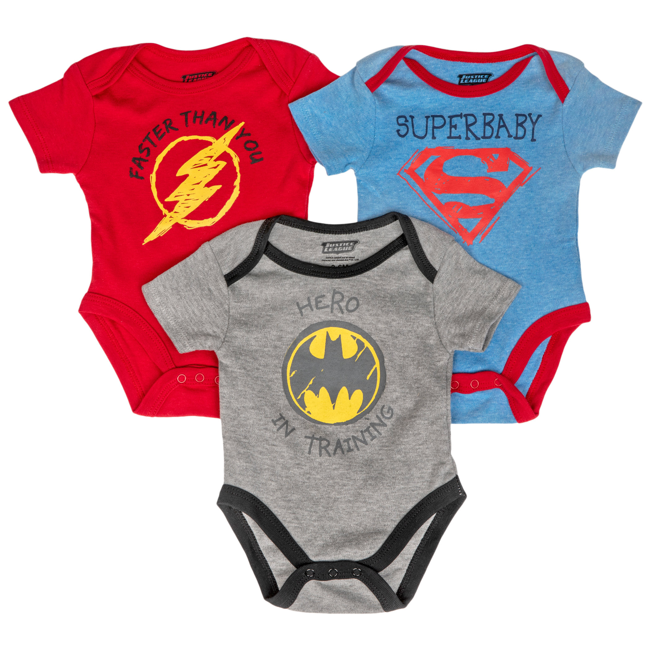 Justice League Symbol and Text 3-Pack Infant Bodysuit Set