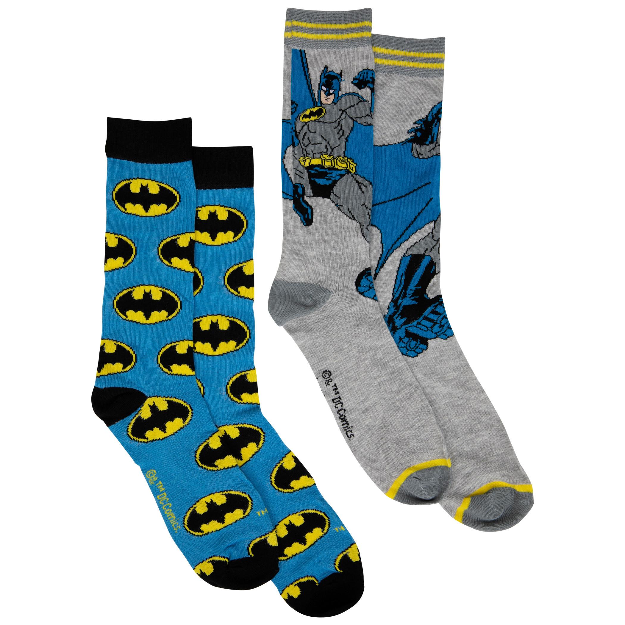 Batman Classic Logos and Character 2-Pair Pack of Crew Socks