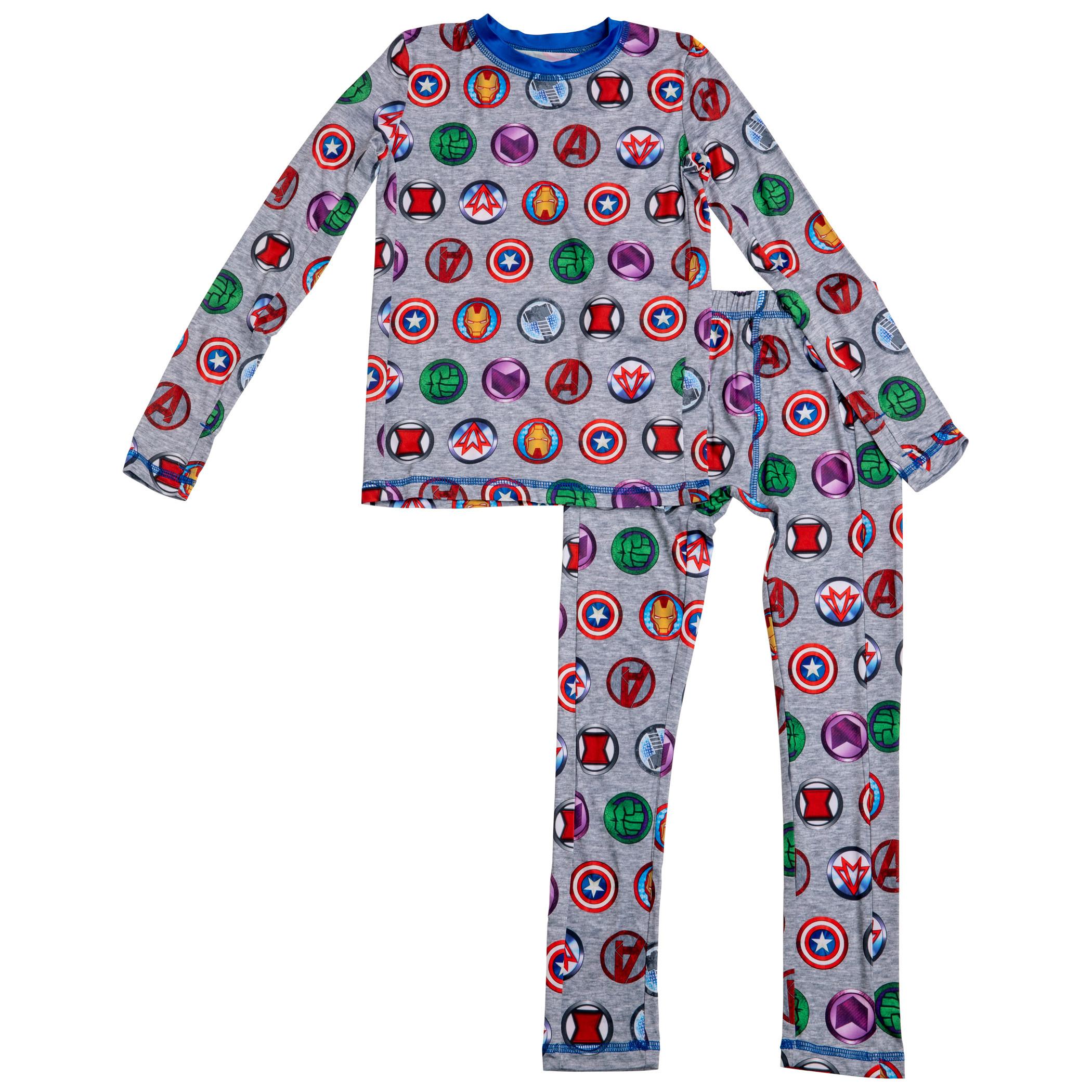 Marvel Avengers Hero Logos All Over Print Big Boys 2-Piece Pajama Set