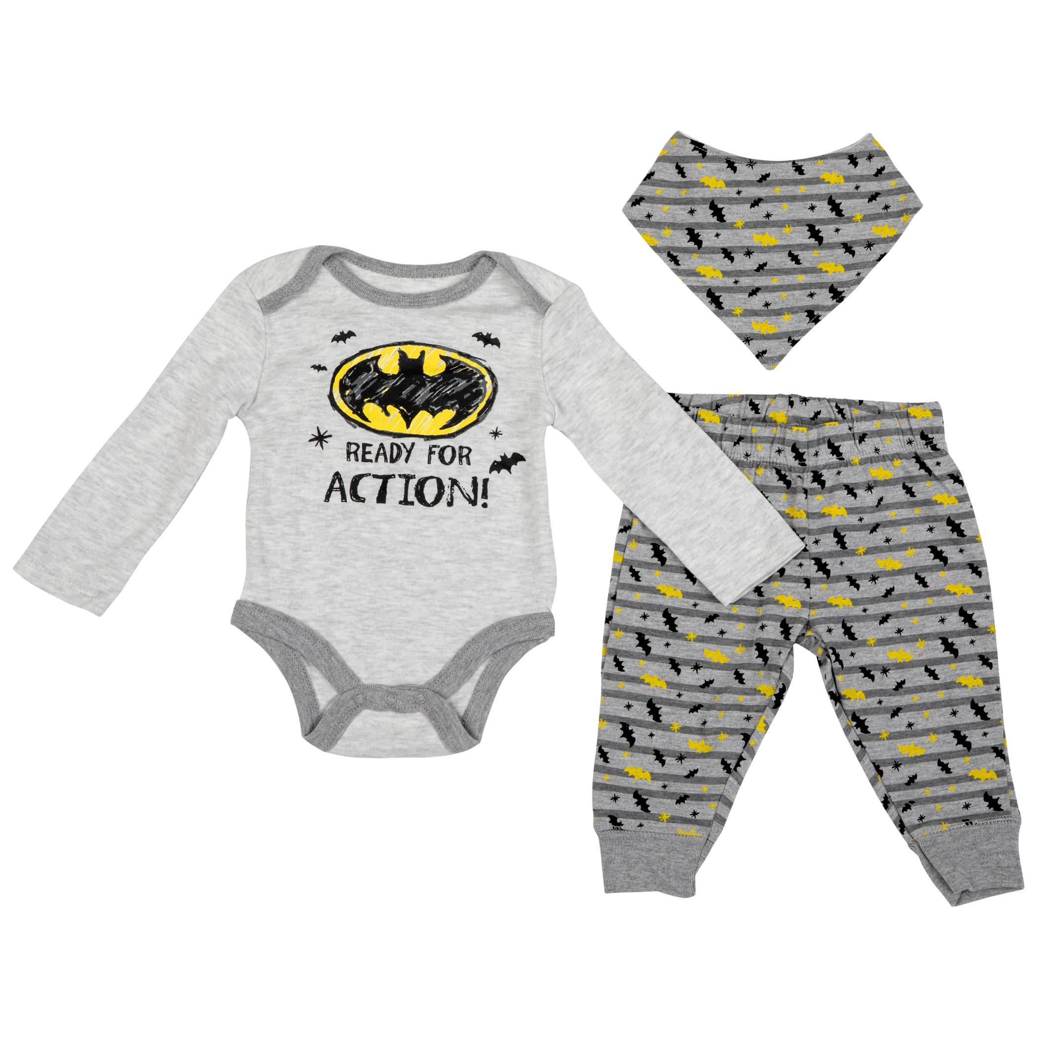 Batman Symbol 3-Piece Bodysuit Set with Bib