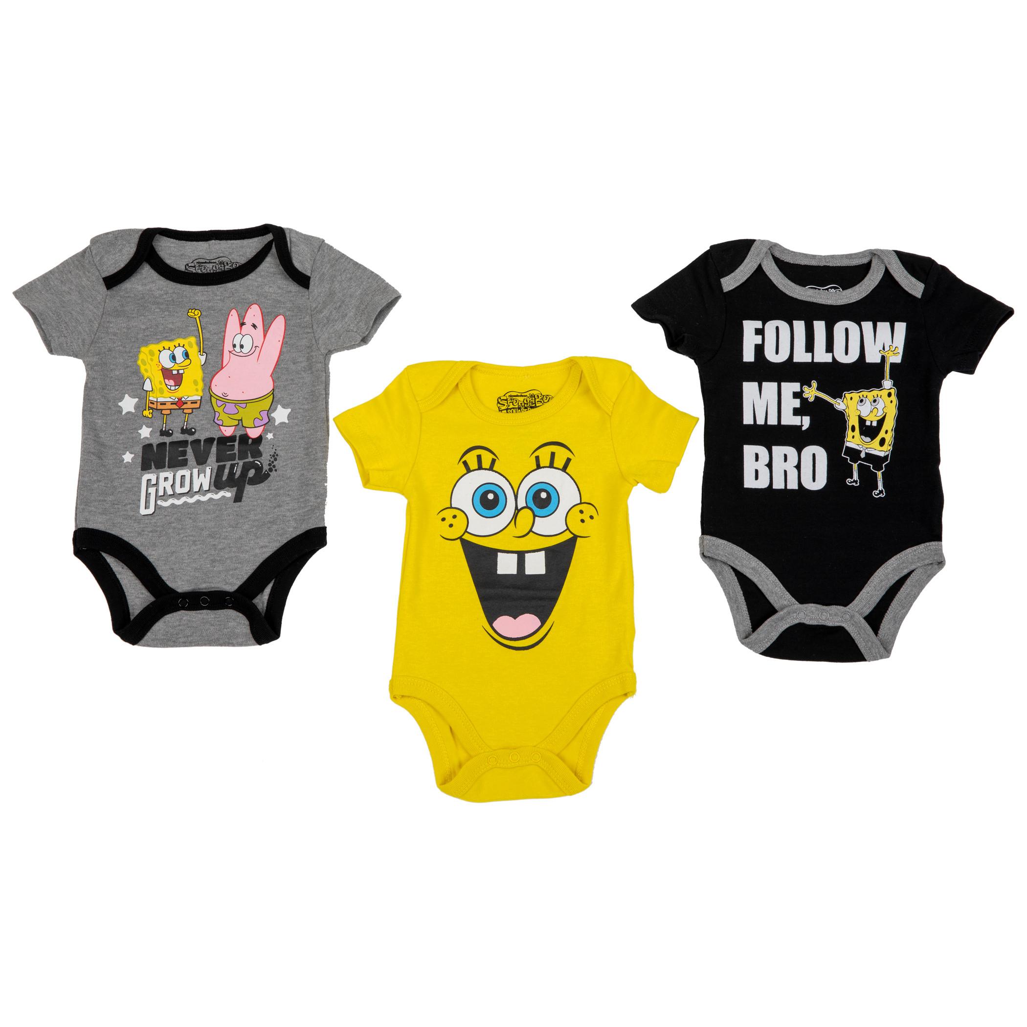 SpongeBob SquarePants Nickelodeon Characters 3 Pack Snap Suits