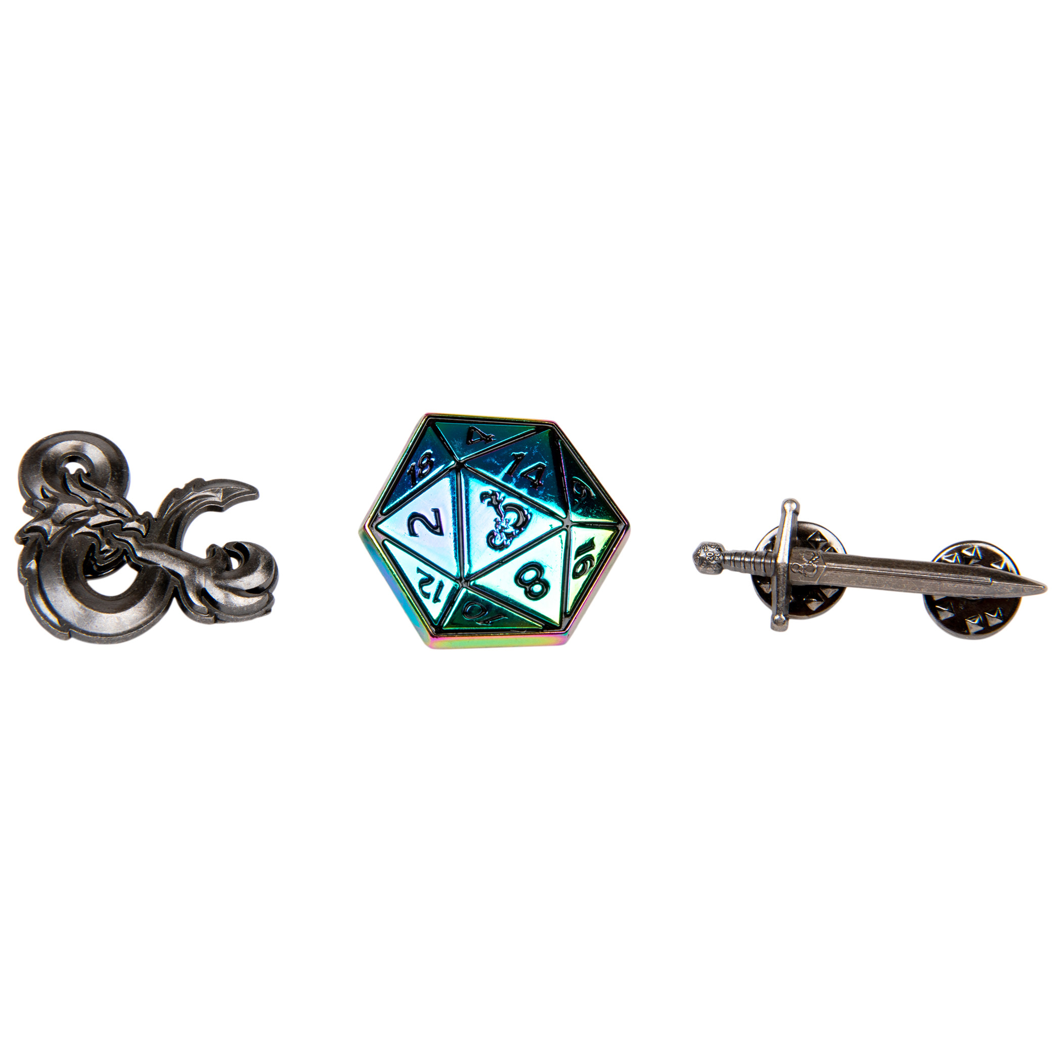 Dungeons & Dragons Logo D20 Sword Set of 3 Lapel Pins