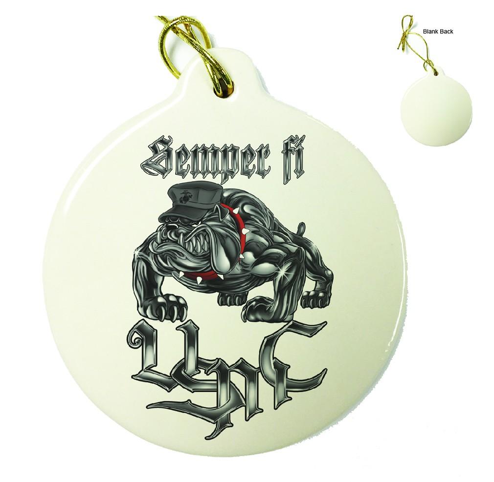 Sempri Fi Chrome Dog Marine Corps Porcelain Ornament