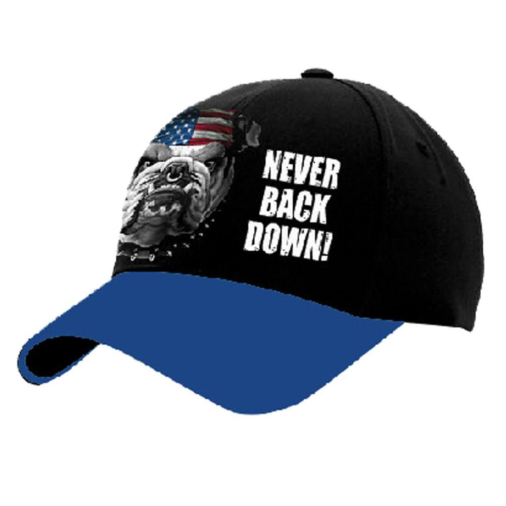 USA Patriotic Never Back Down Bulldog Baseball Hat