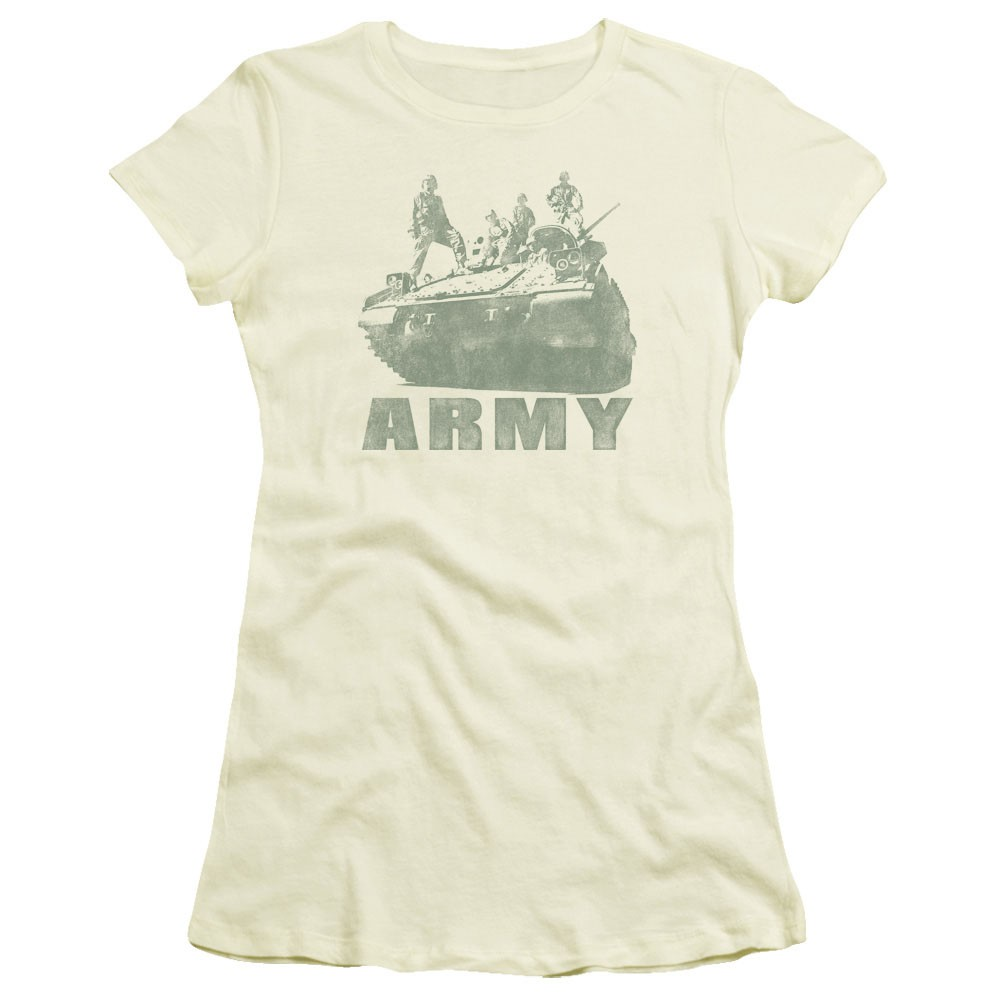 US Army Tank Strong Off White Juniors T-Shirt