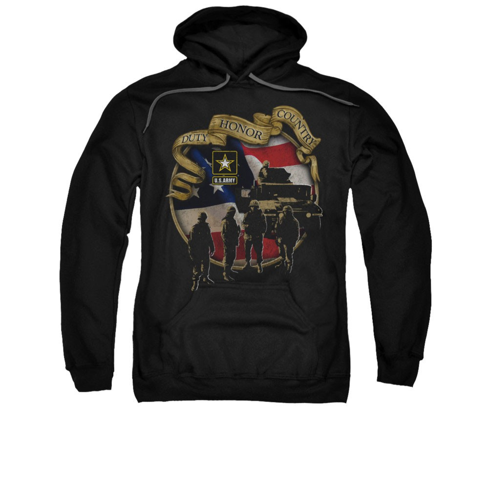 US Army Duty Honor Country Black Pullover Hoodie