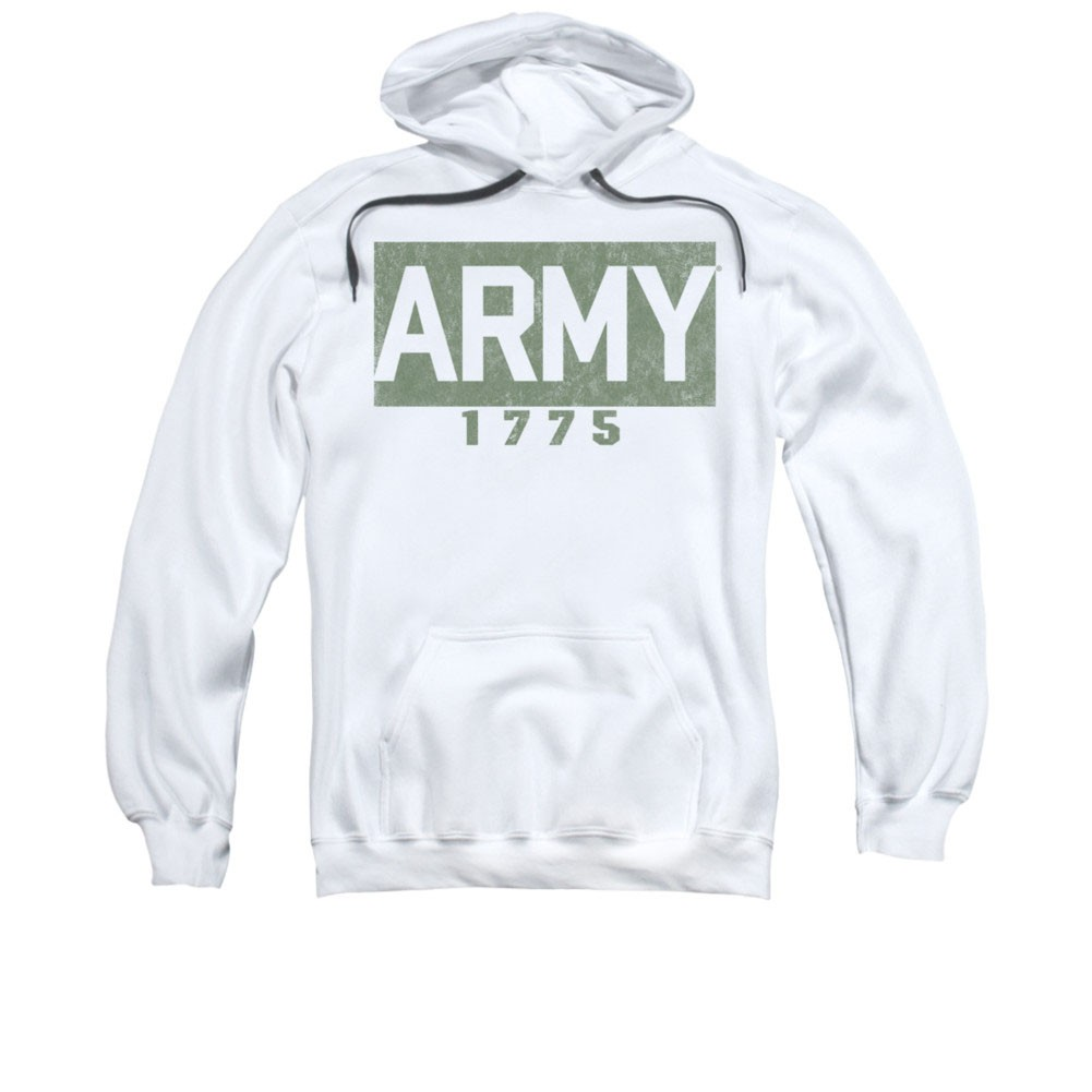 US Army 1775 Block White Pullover Hoodie
