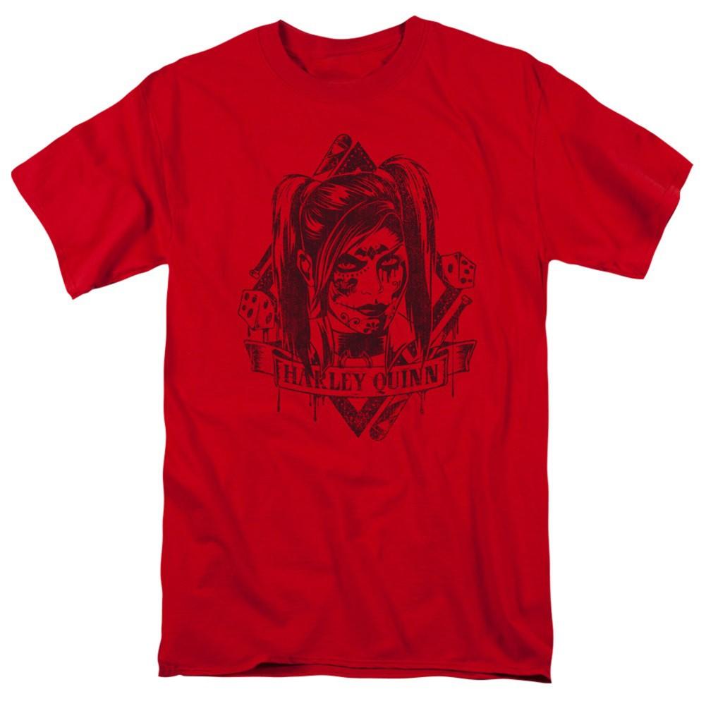 Harley Quinn Diamond Dice Men's Red T-Shirt