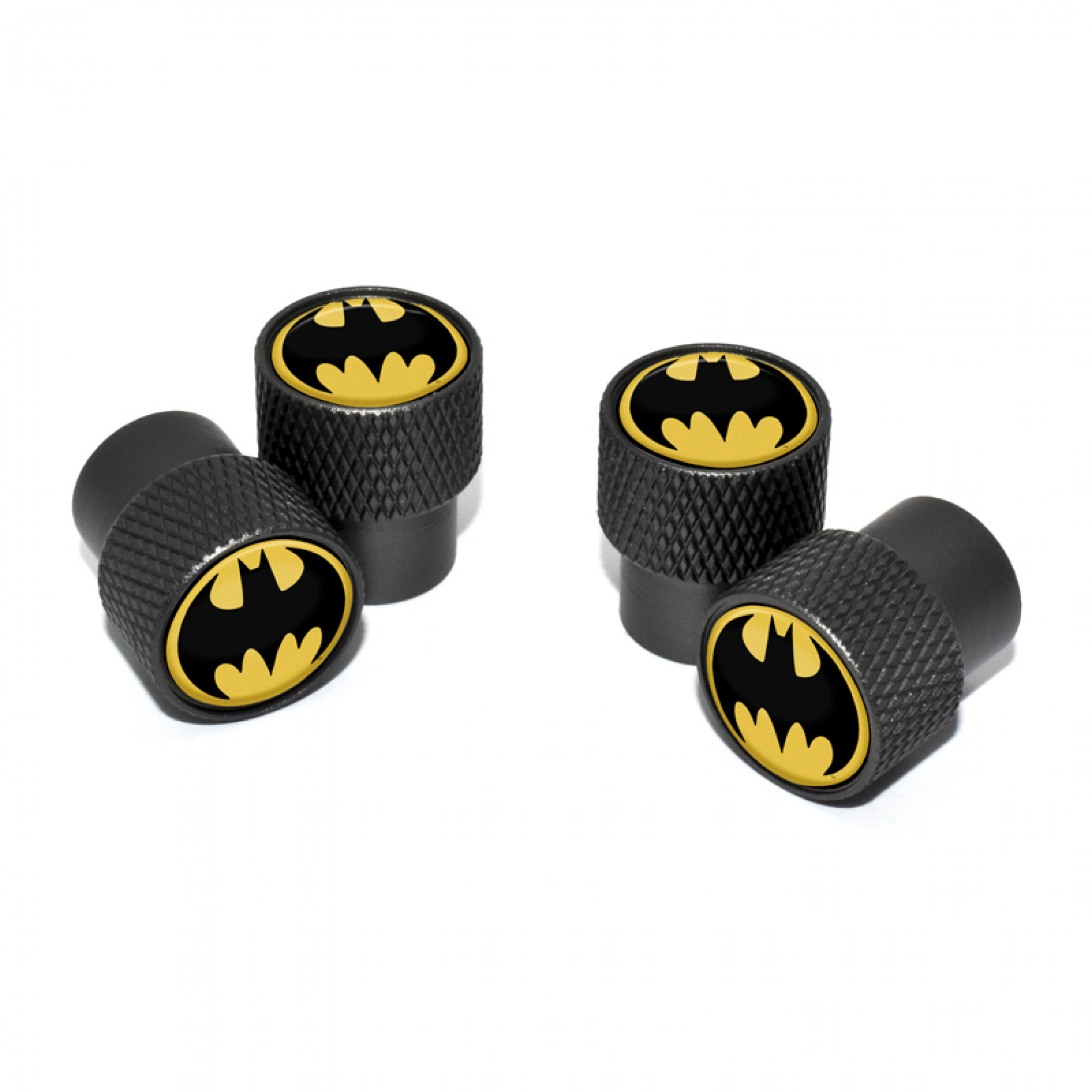 Batman Symbol Valve Stem Caps with Black Knurling 4-Pack