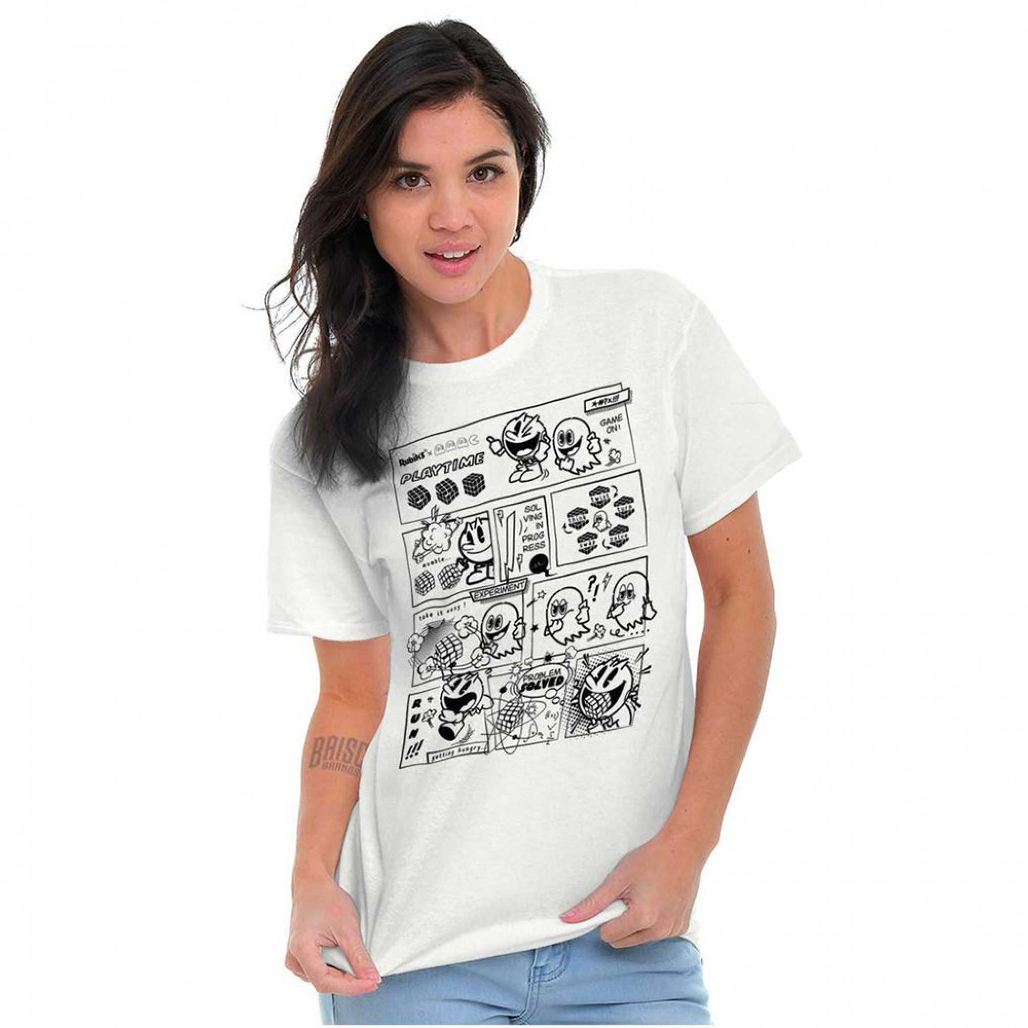 Pac-Man Game Pac-Man And Ghosts Comic Game On T-Shirt