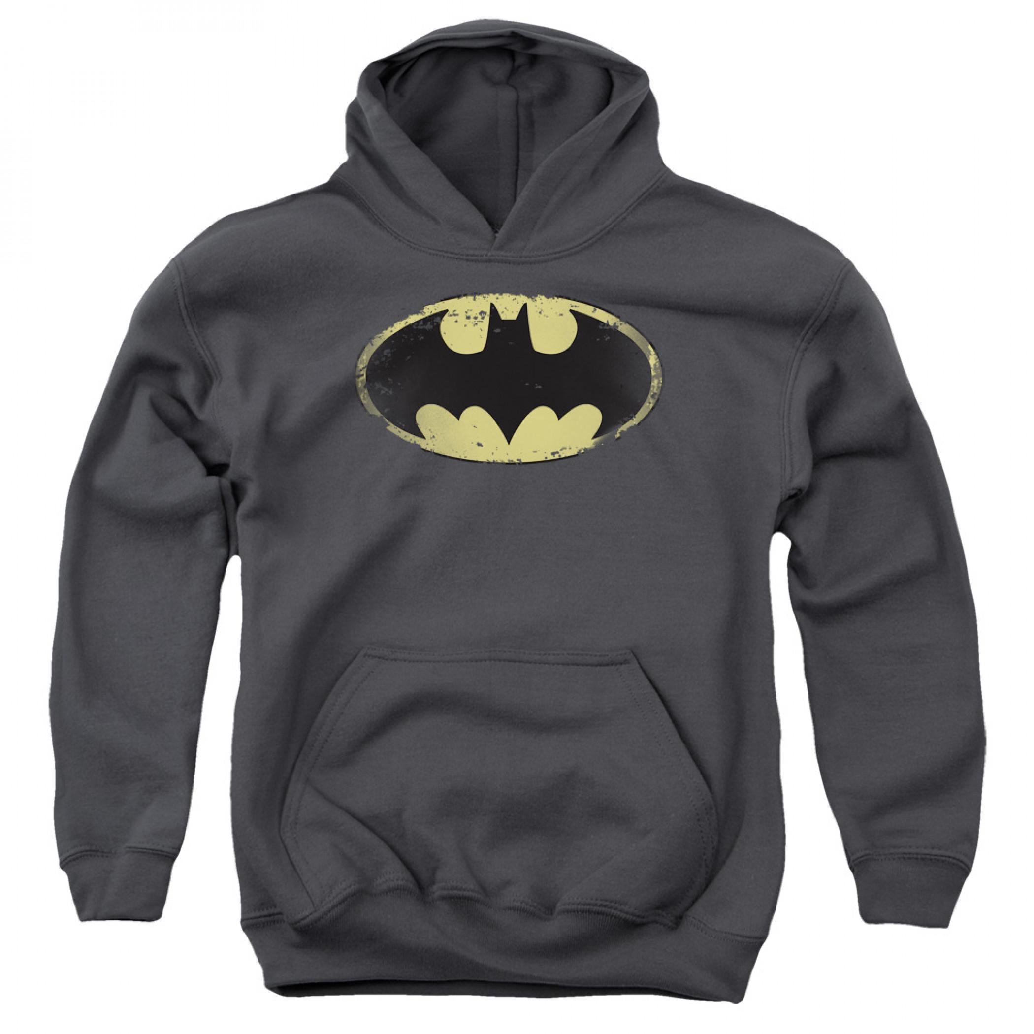 Batman Distressed Logo Youth Hoodie