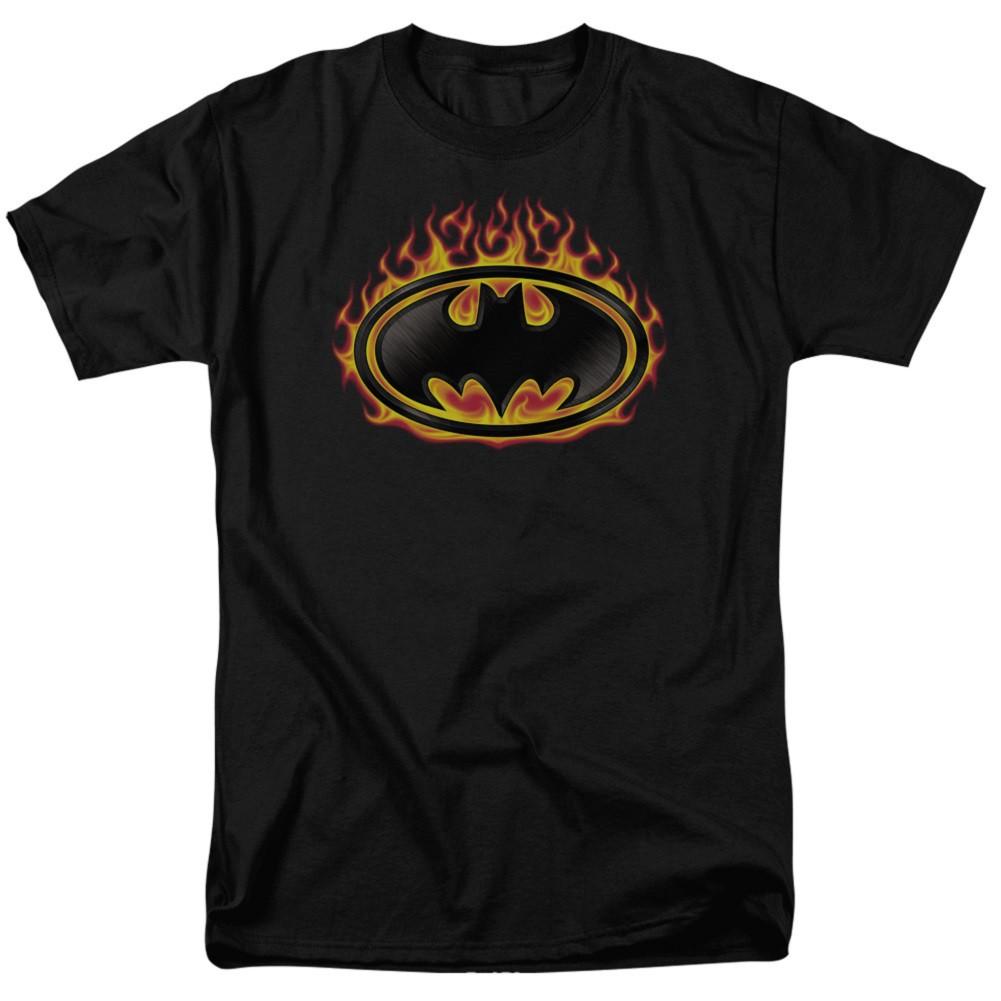 Batman Flaming Logo Men's Black T-Shirt