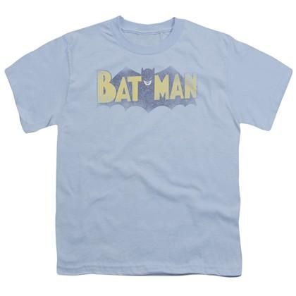 Batman Vintage Bat Logo Blue Youth Tshirt
