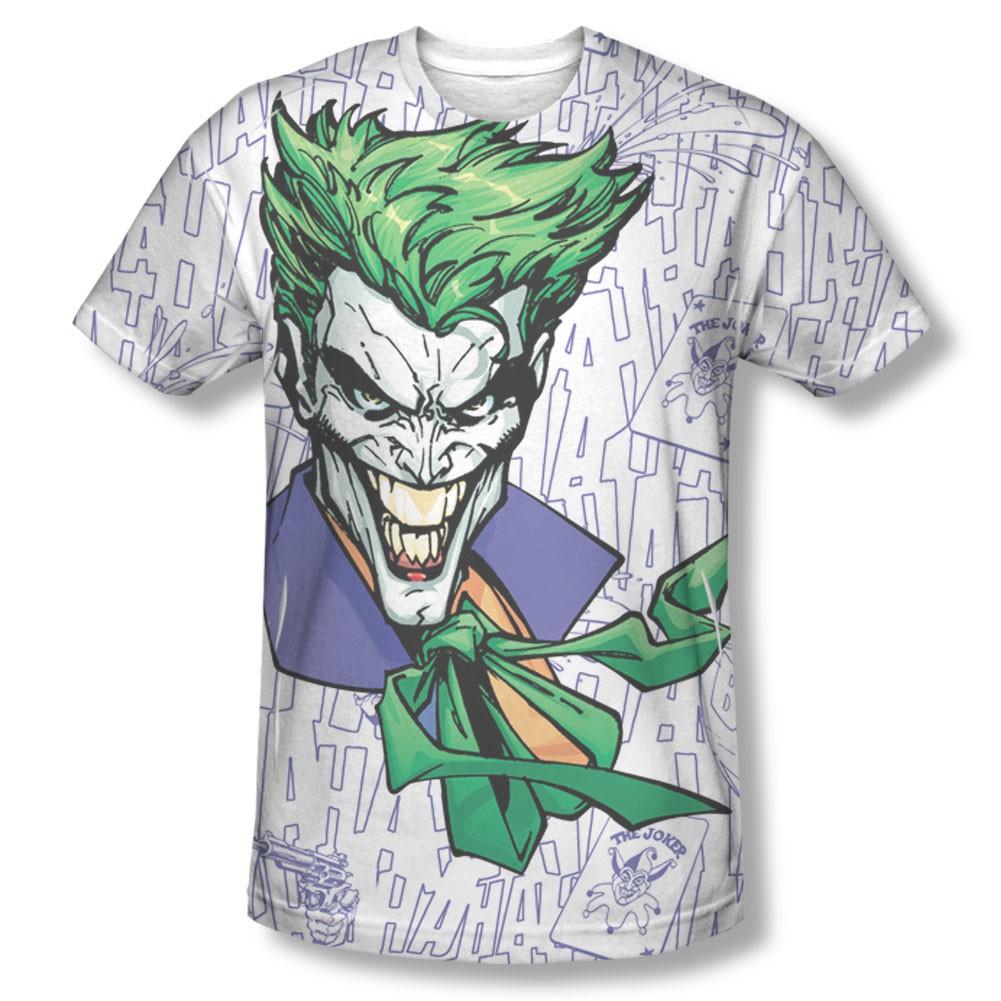 Batman Joker Laughter Sublimation White Tee Shirt