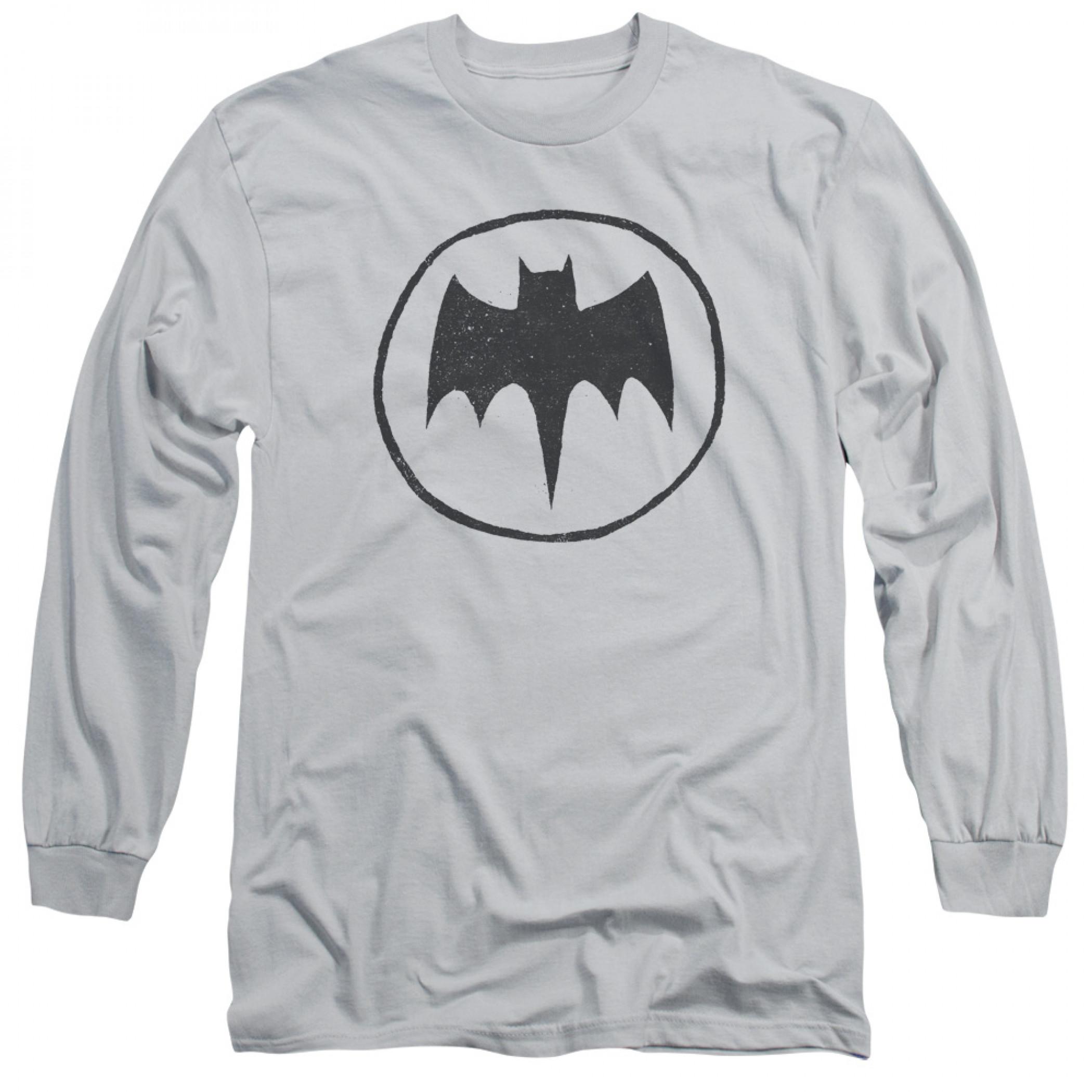 Batman Sketched Logo Men's Grey Long Sleeve Shirt