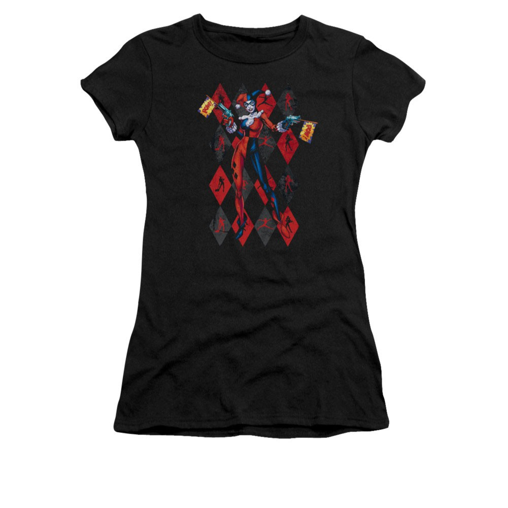 Batman Harley Quinn Pow Black Juniors T-Shirt