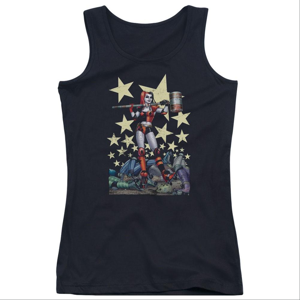 Batman Harley Quinn Hammer Time Black Juniors Tank Top