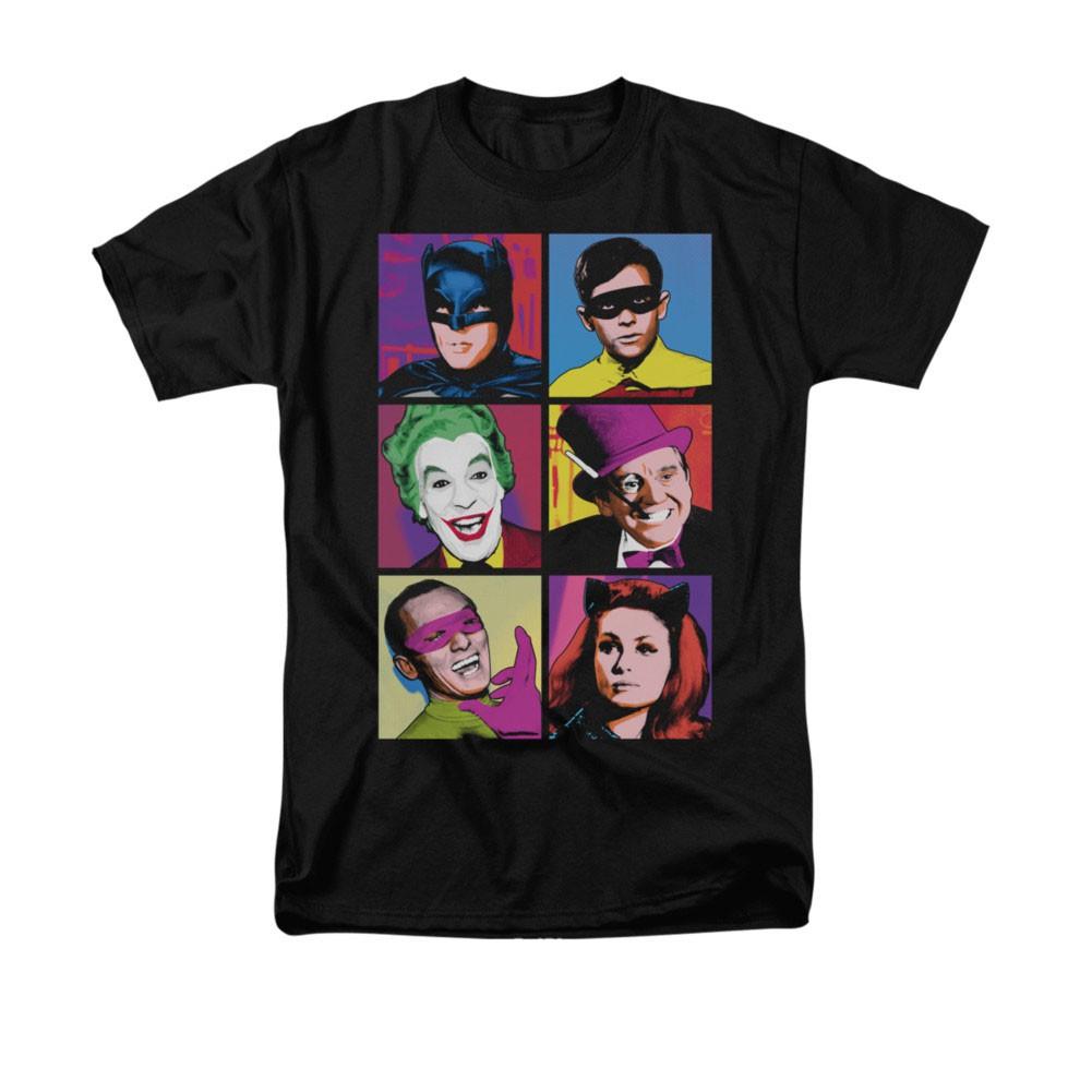 Batman Classic TV Pop Cast Black Tee Shirt