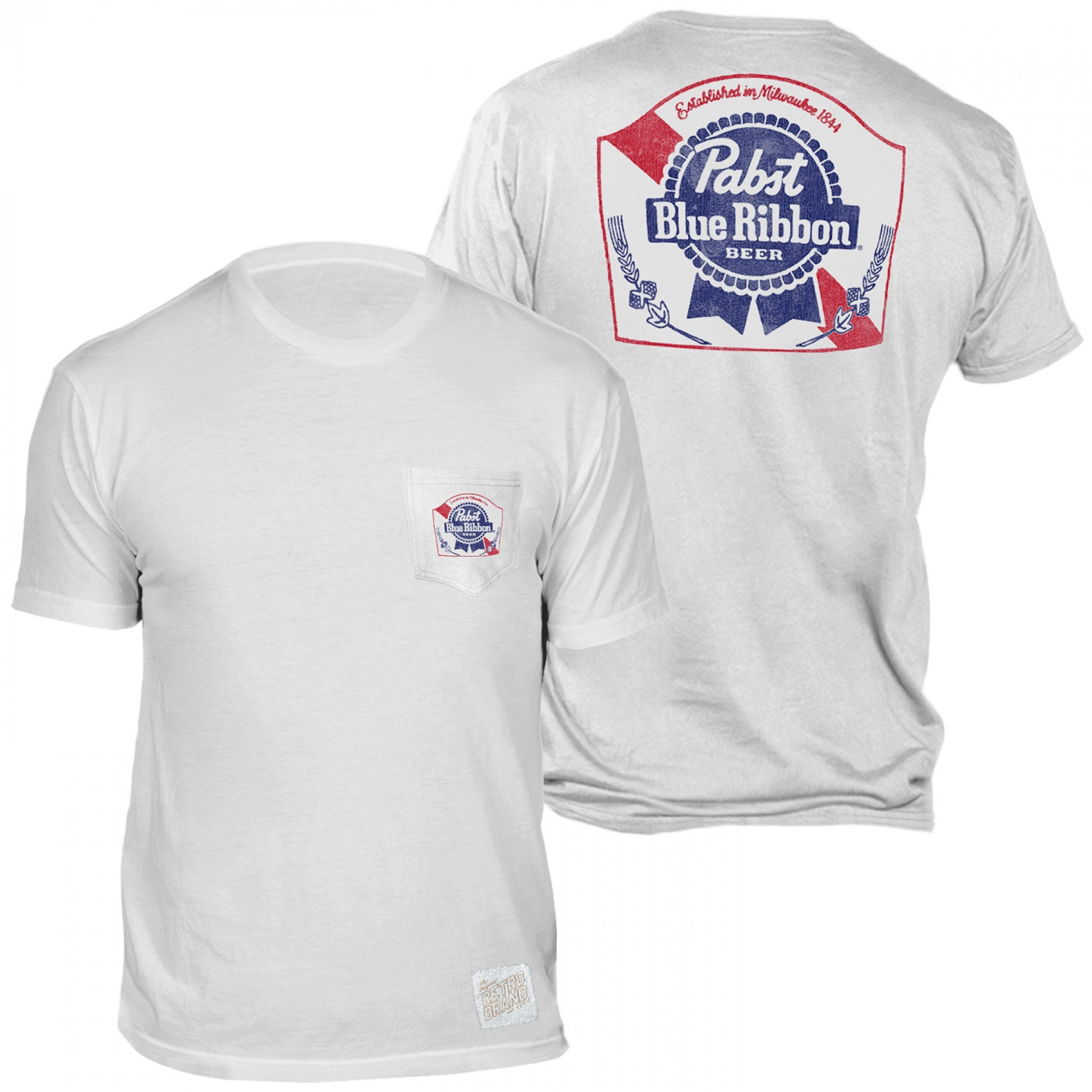 Pabst Blue Ribbon Beer Front and Back Print Pocket T-Shirt