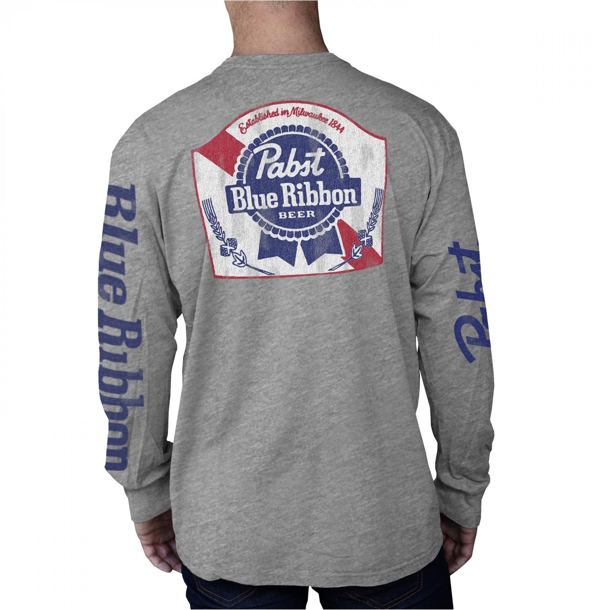 Pabst Blue Ribbon Beer Logo and Sleeve Print Long Sleeve Shirt