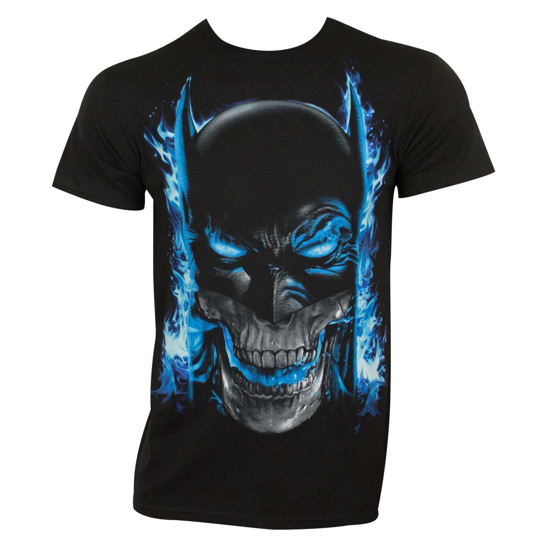 Batman Men's Black Blue Flames T-Shirt