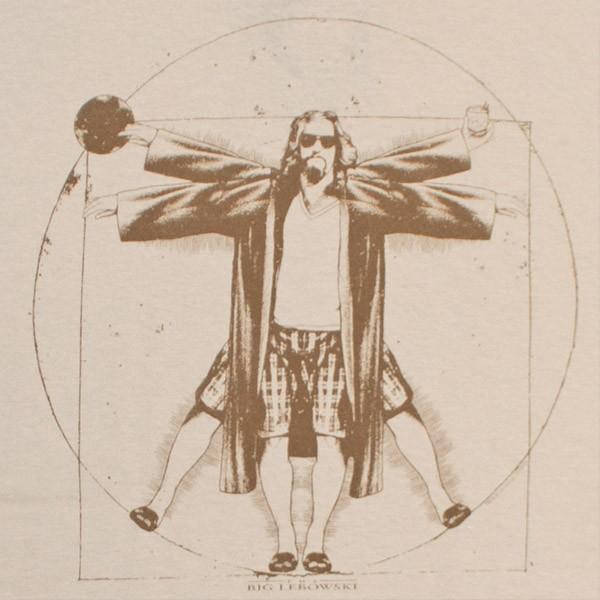 The Big Lebowski Vitruvian Da Vinci Men's Tan Graphic T-Shirt