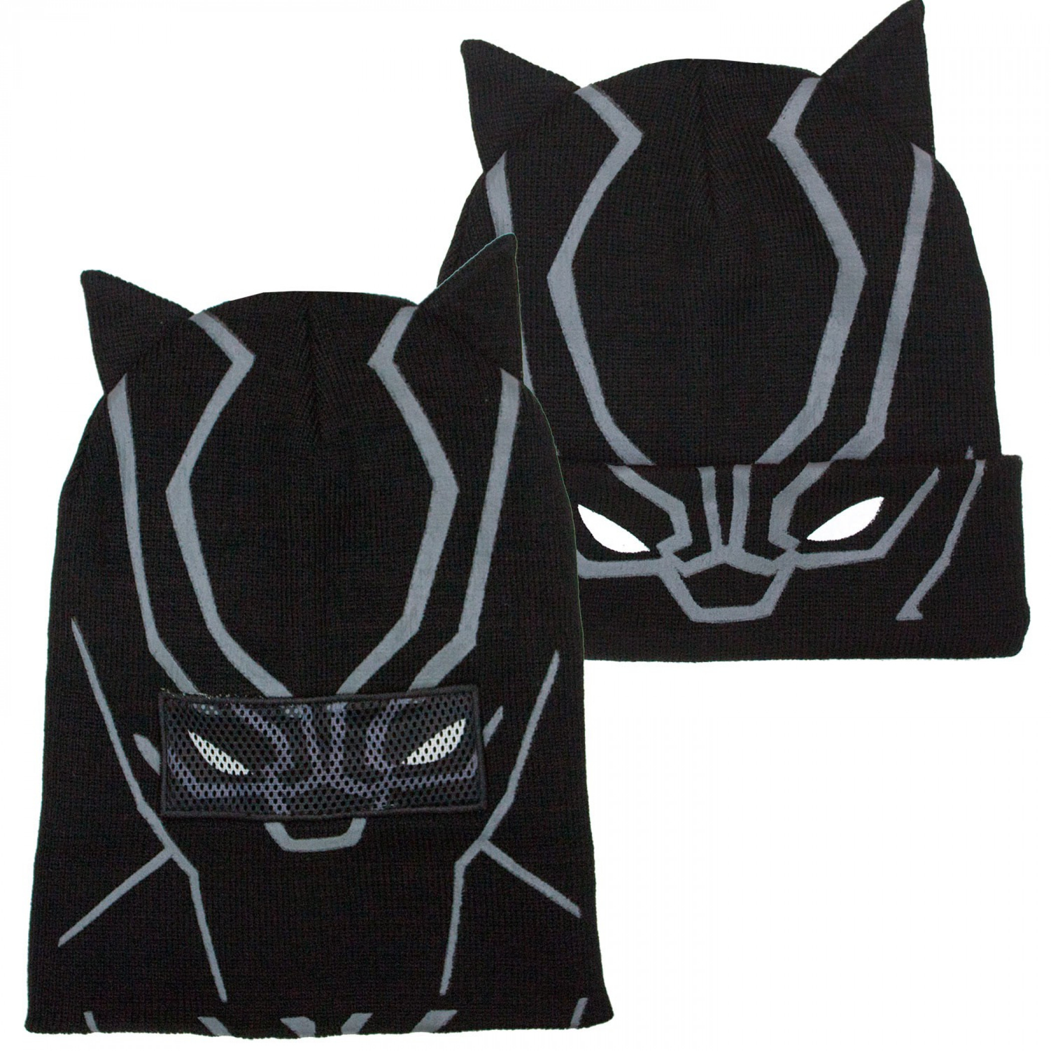 Black Panther Face Costume Pull Down Mask Beanie