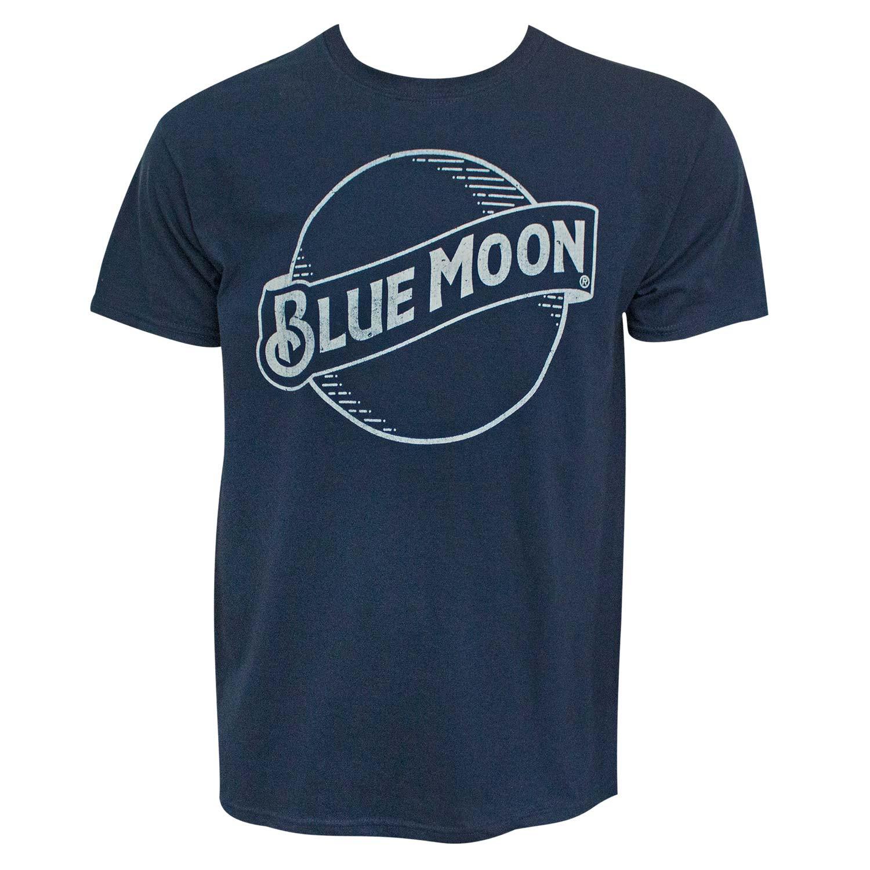 Blue Moon Beer Classic Logo Men's Navy Blue T-Shirt