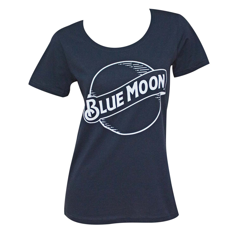 Blue Moon Round Logo Lades Navy Blue Tee Shirt