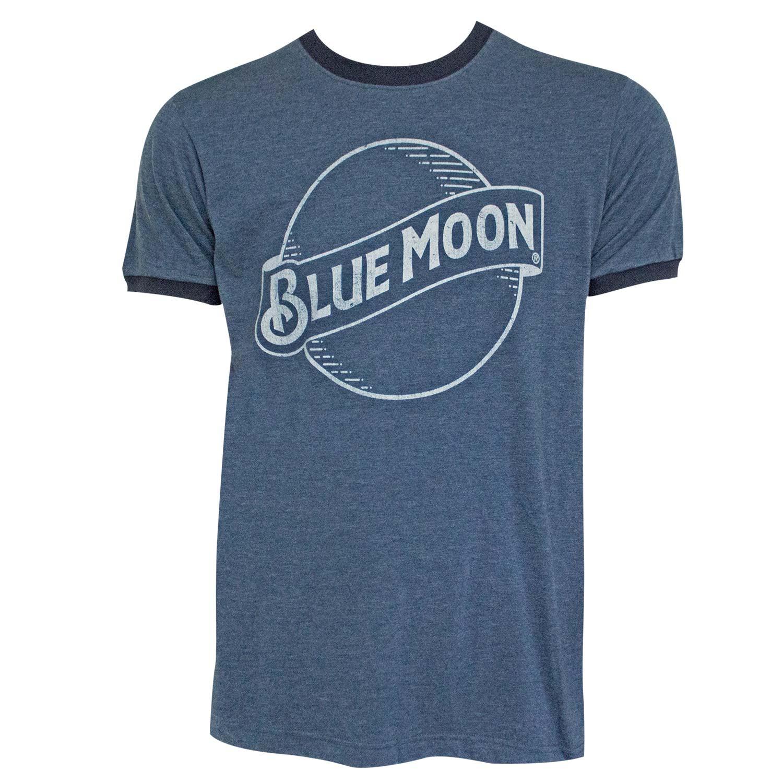 Blue Moon Beer Logo Men's Navy Blue Ringer T-Shirt