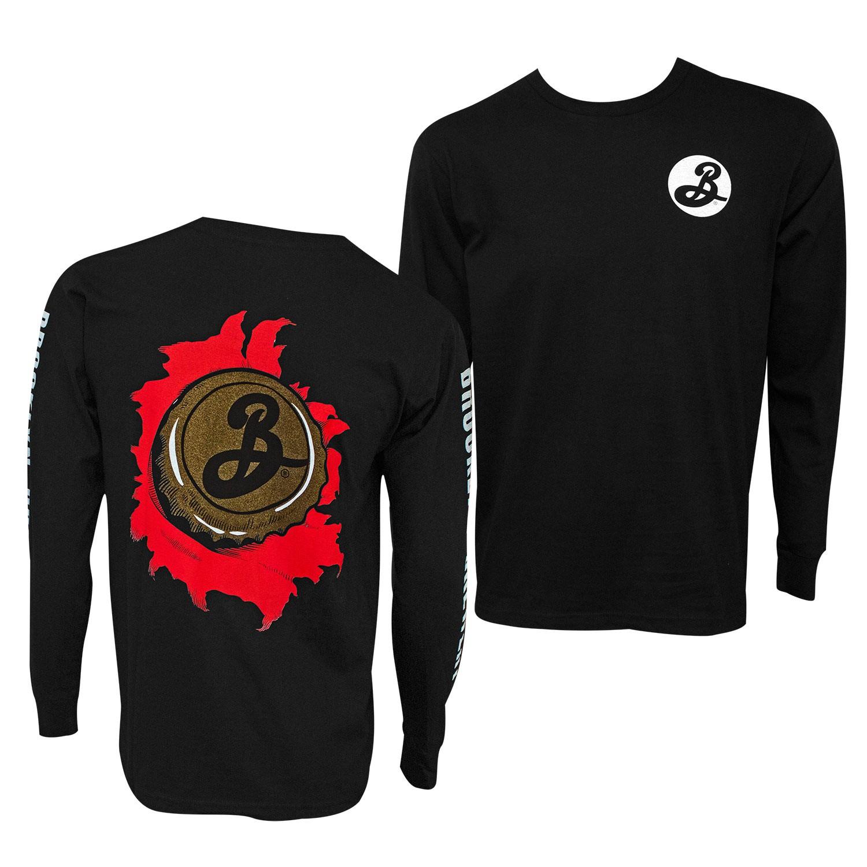 Brooklyn Brewery Long Sleeve Skater Men's Black T-Shirt