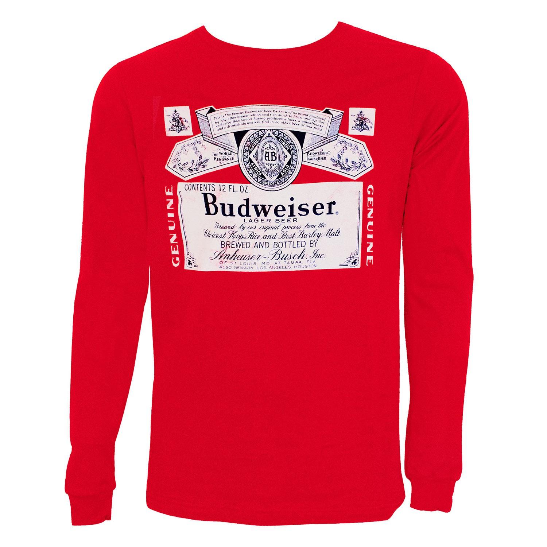 Budweiser Label Long Sleeve Red Tee Shirt