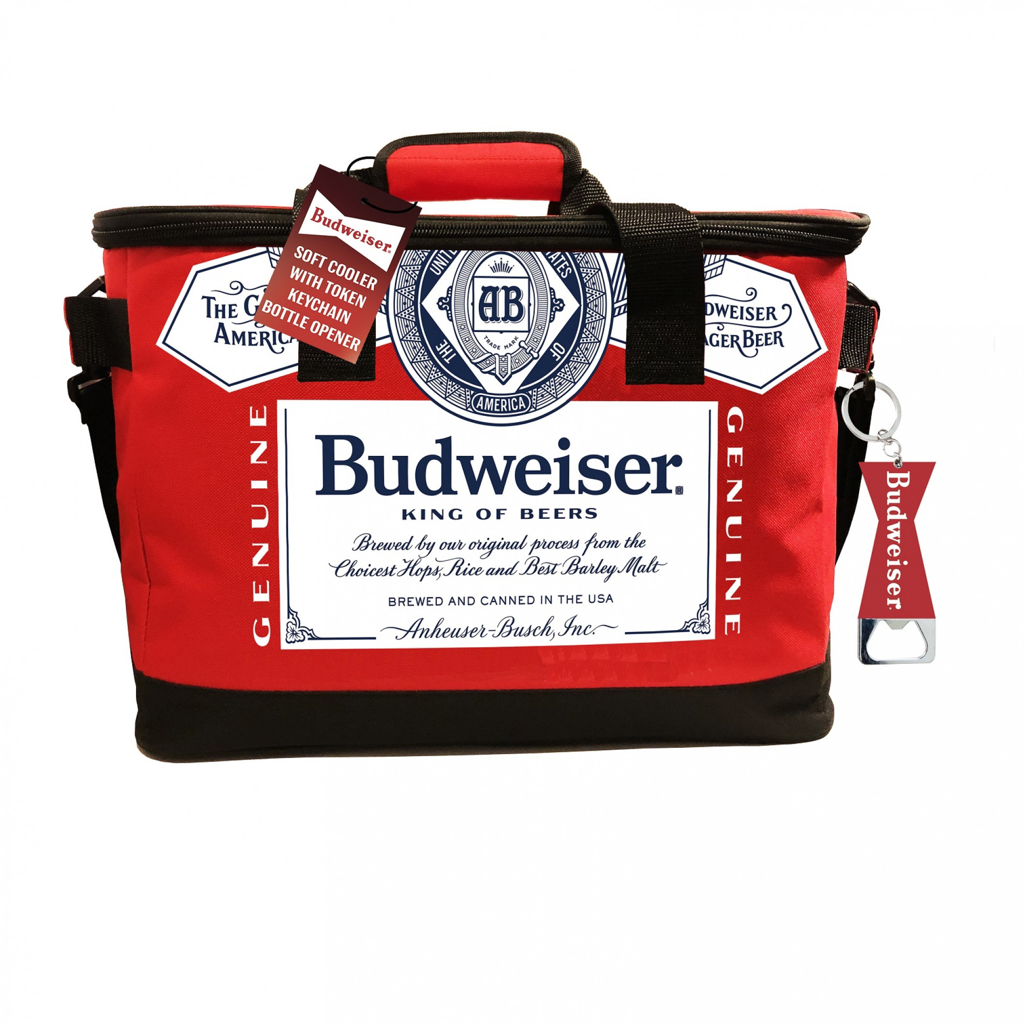 Budweiser Fabric Cooler With Bottle Opener