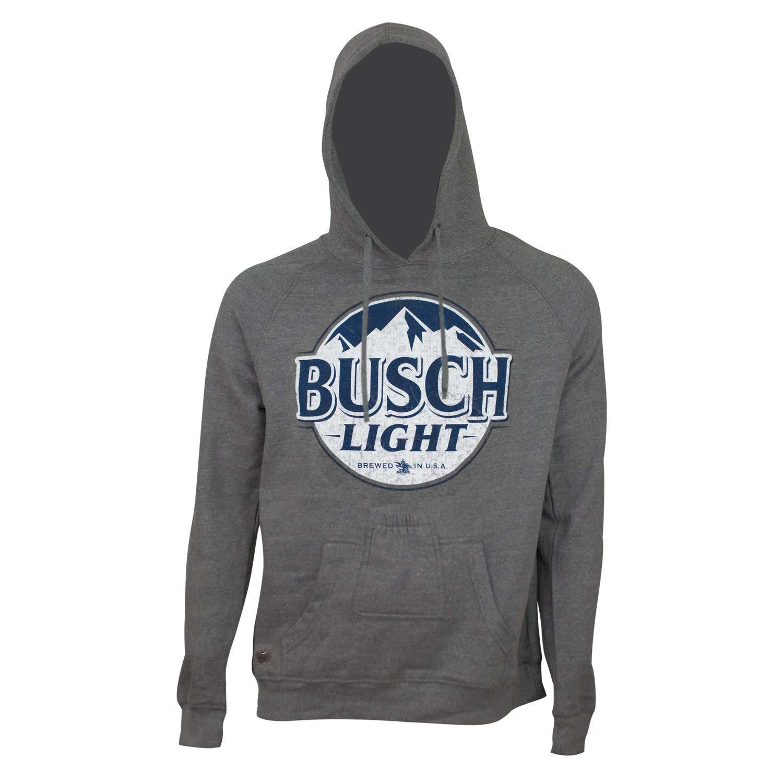 Busch Light Bottle Label Dark Grey Bottle Opener Beer Pouch Hoodie
