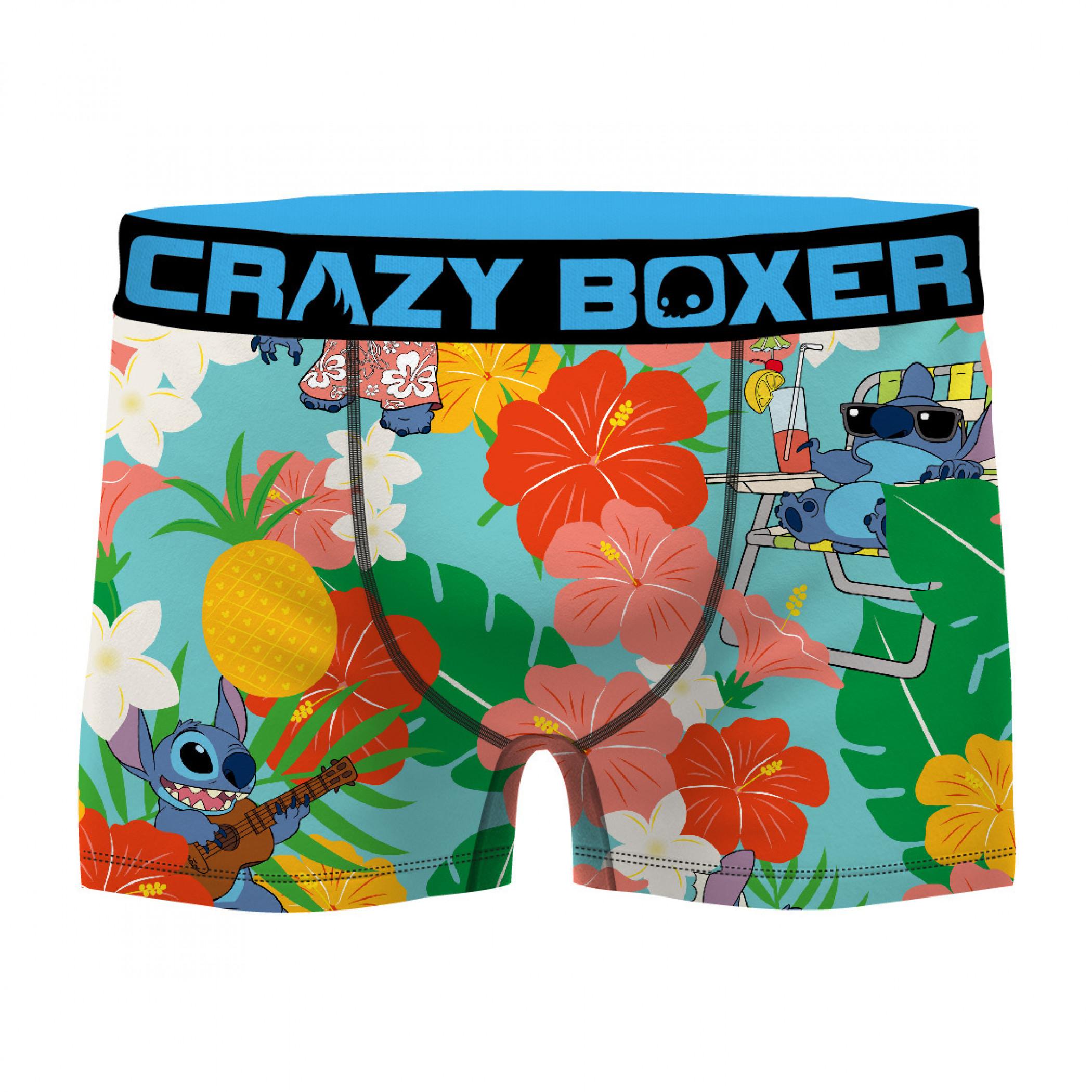 Disney Floral Lilo and Stitch Boxer Men's Boxer Briefs Shorts