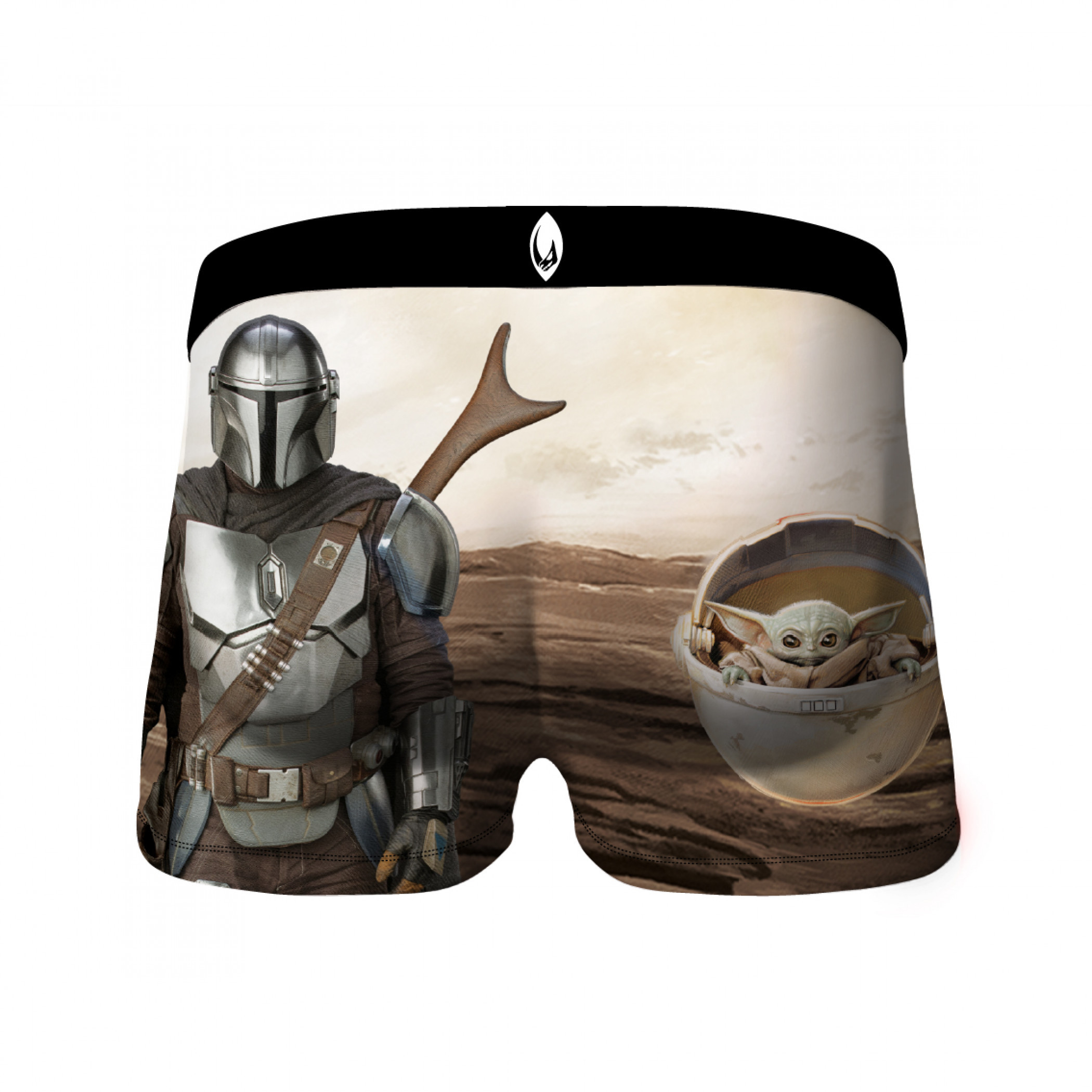 Star Wars The Mandalorian Symbol and The Child Waltzing Up 2-Pack of Crazy Boxer Briefs