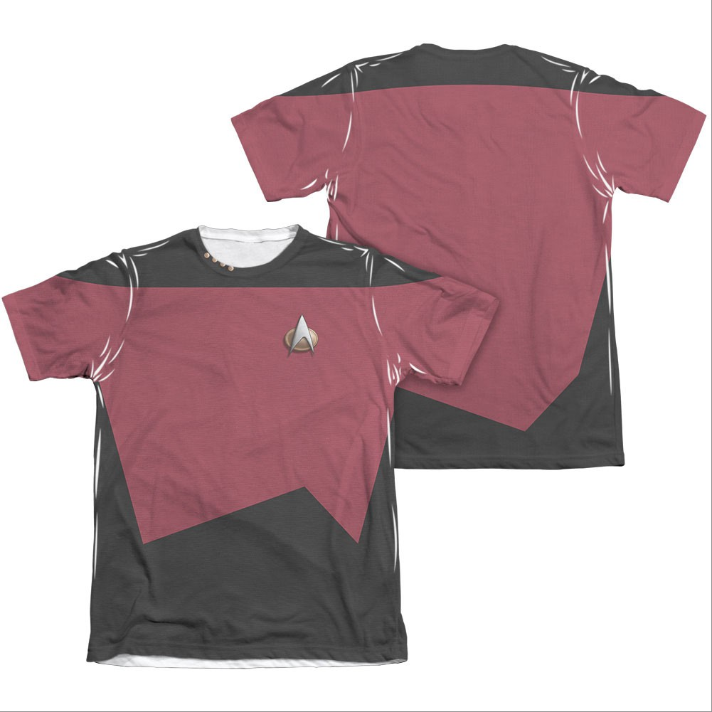 Star Trek TNG Command Two-Sided Costume Red Sublimation T-Shirt