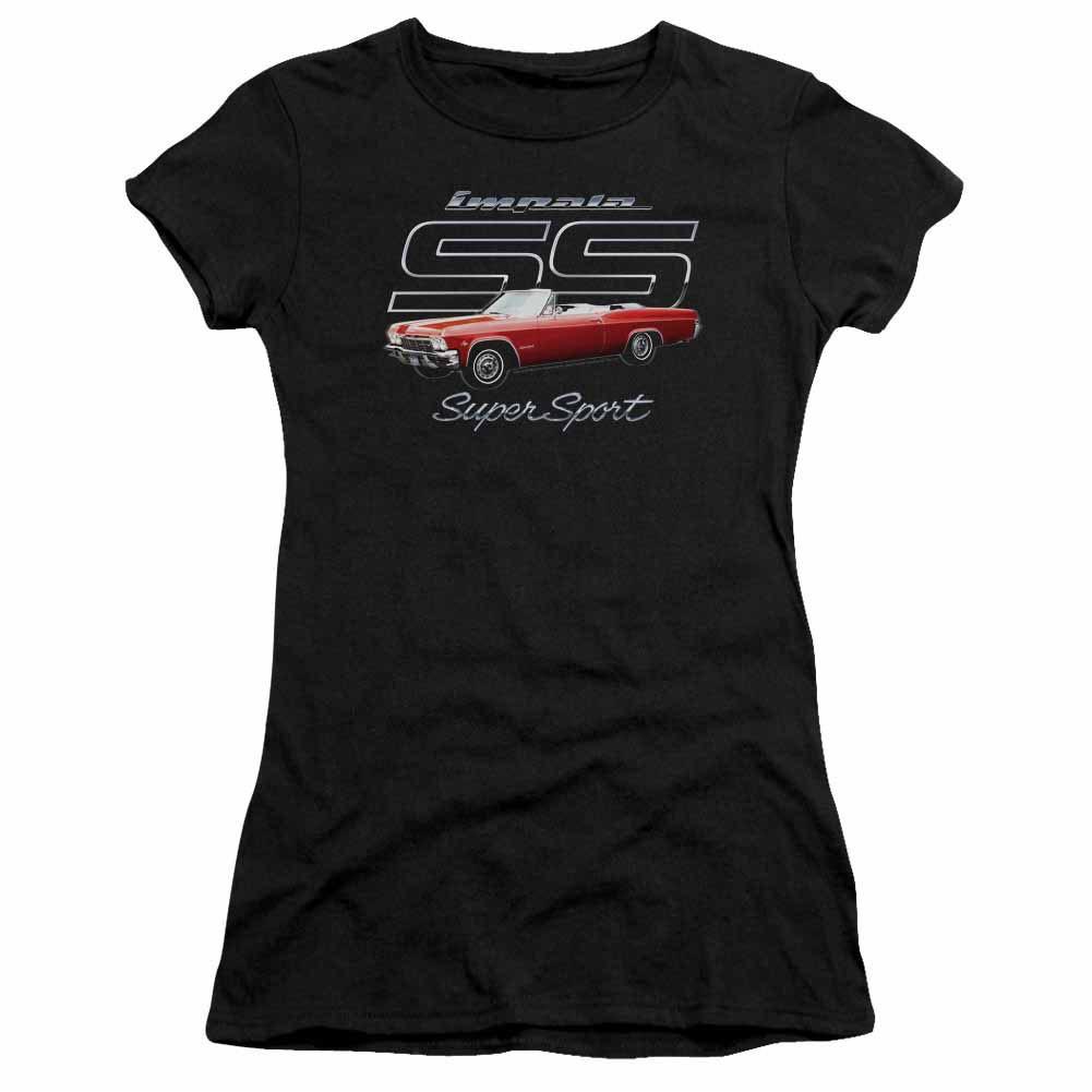 Chevy Impala Ss Black Juniors T-Shirt