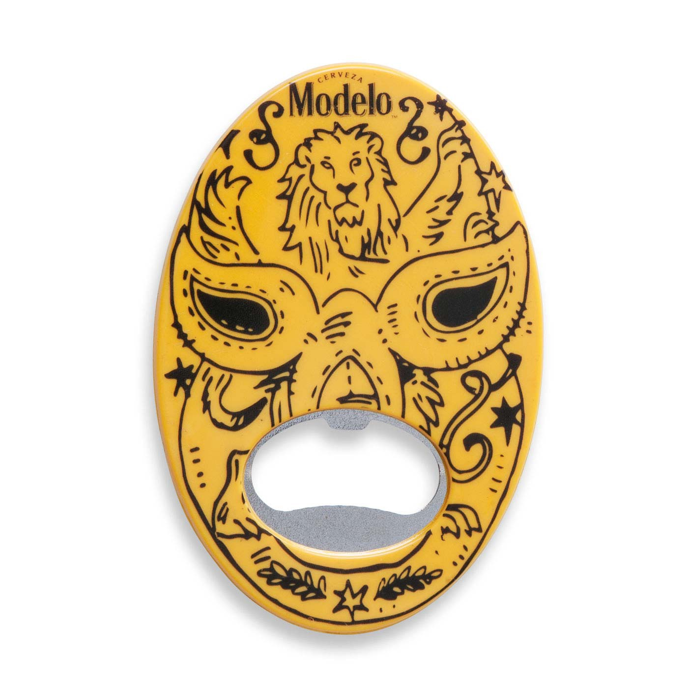 Modelo Negra Yellow Lucha Libre Mask Bottle Opener