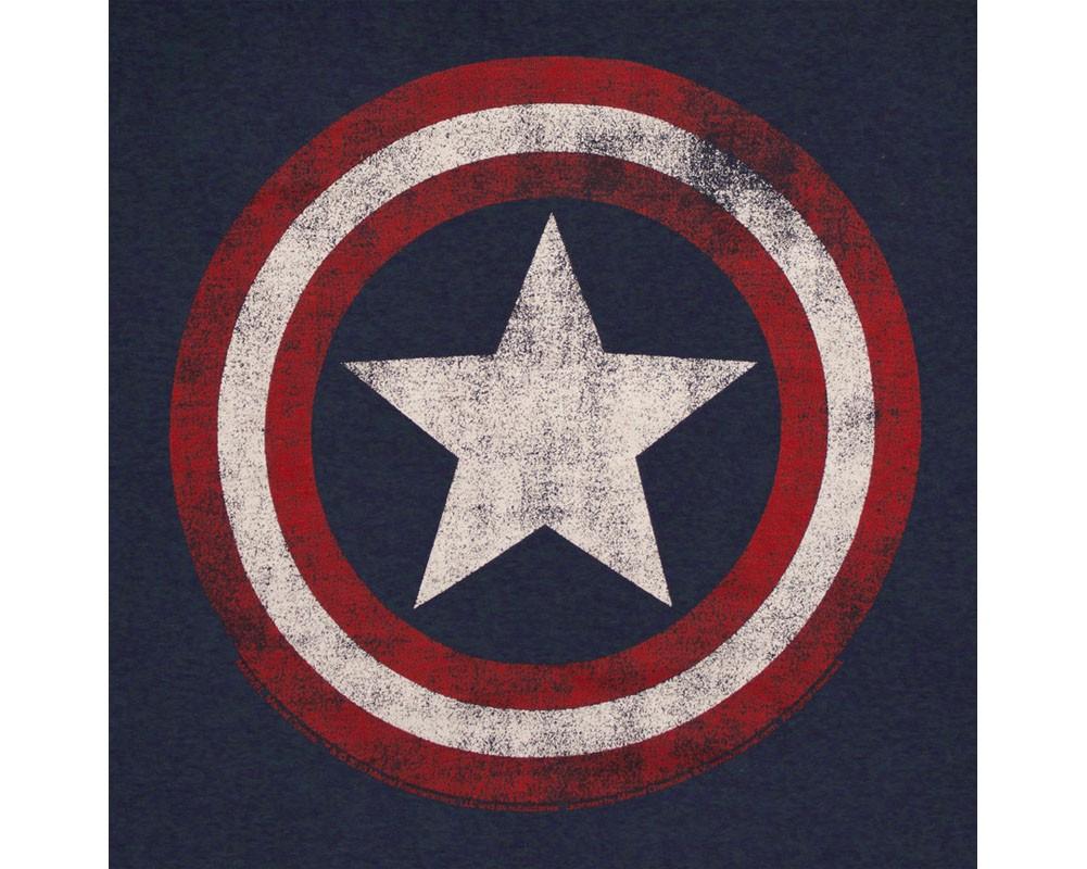 Captain America Distressed Shield Logo Navy Blue Graphic T-Shirt