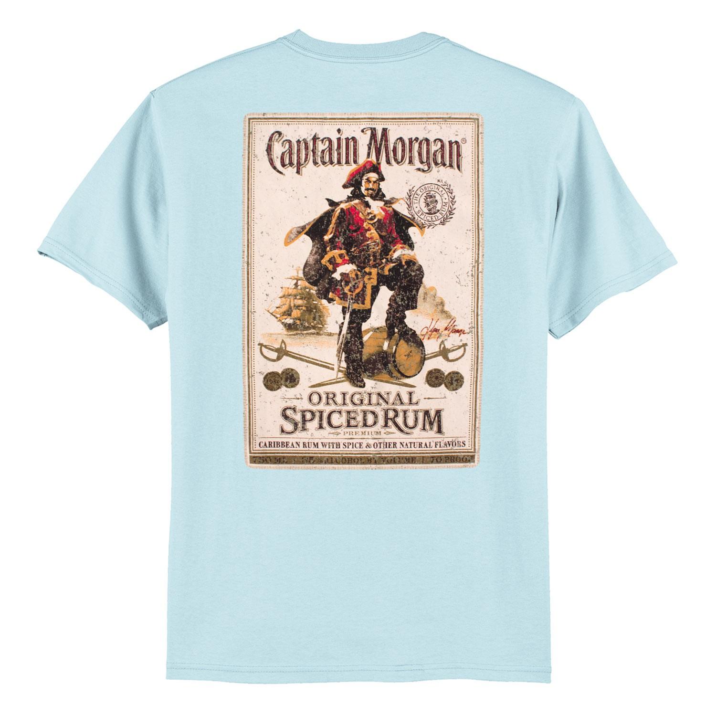Captain Morgan Bottle Label Light Men's Blue T-Shirt
