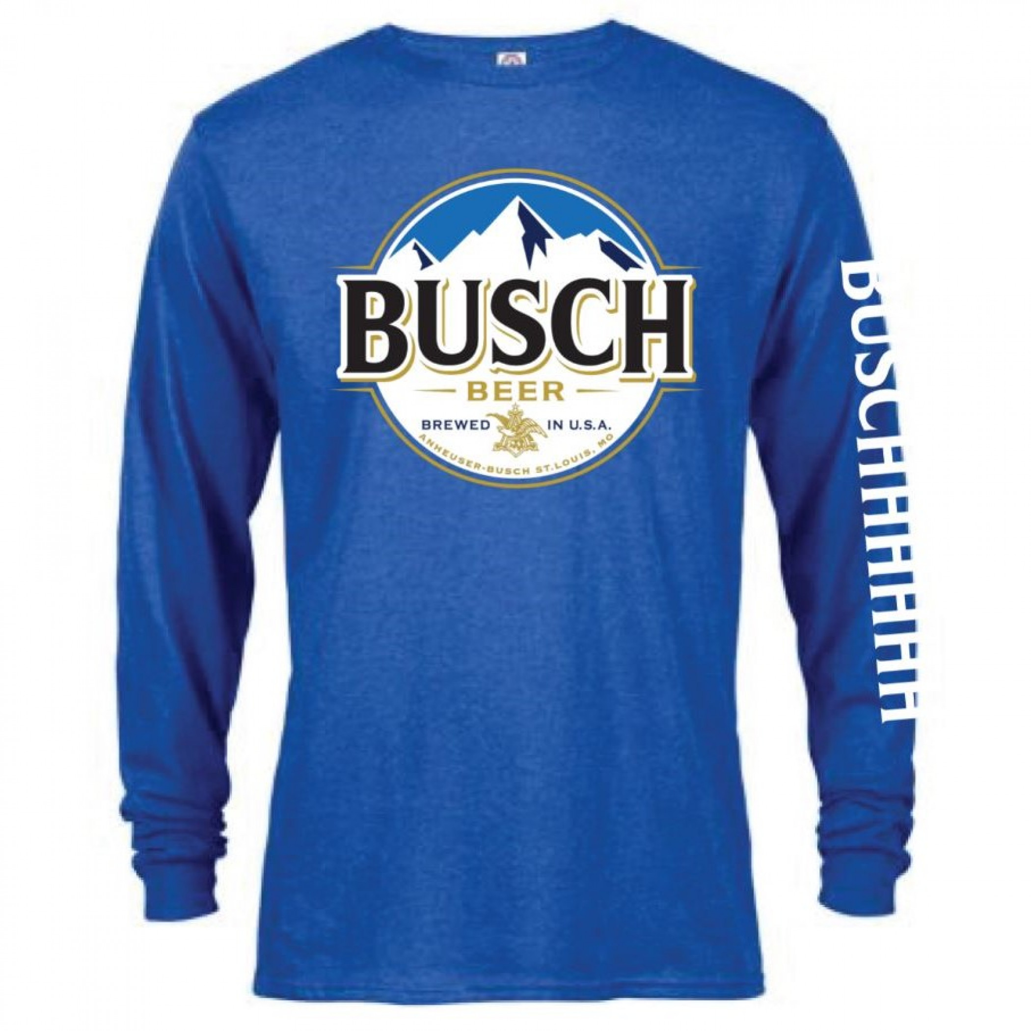 Anheuser Busch Men's Blue Long Sleeve Buschhhhhh T-Shirt