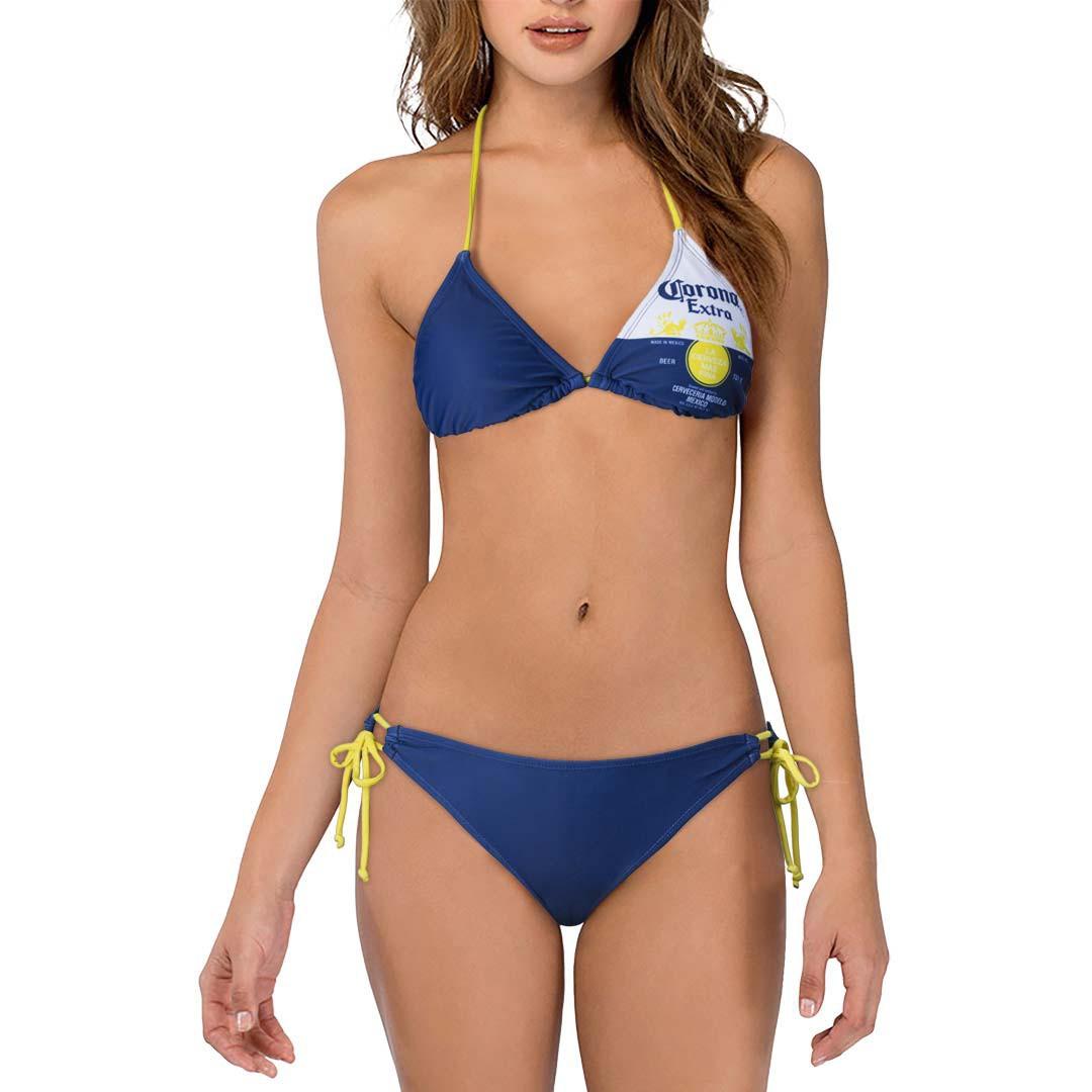 Corona Extra Label Two Piece Women's Navy Bikini